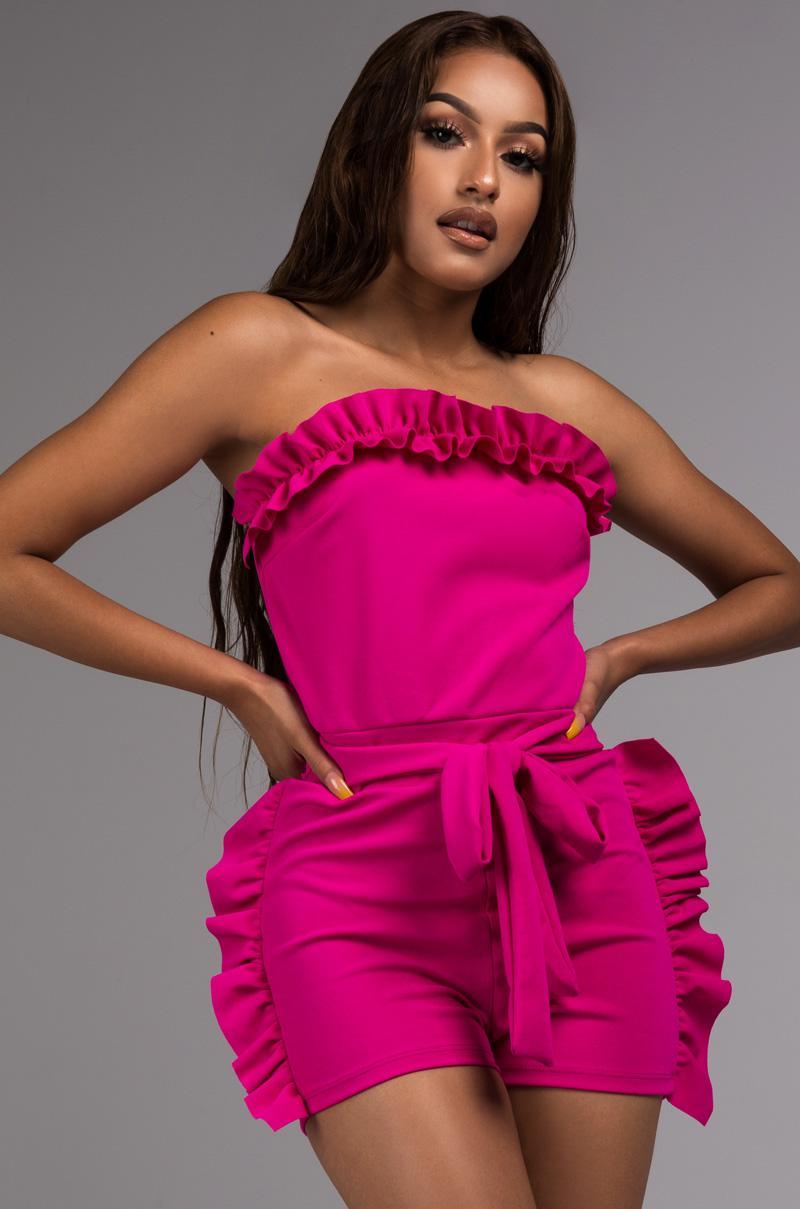 fbbd63b0a328 Lyst - Akira Love It Or Leave It Strapless Romper in Pink