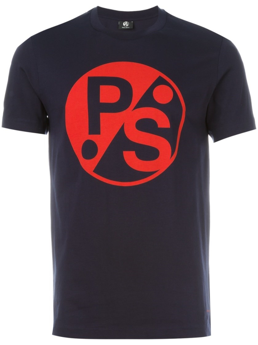 Paul smith logo print t shirt in blue for men lyst for Shirts with logo print