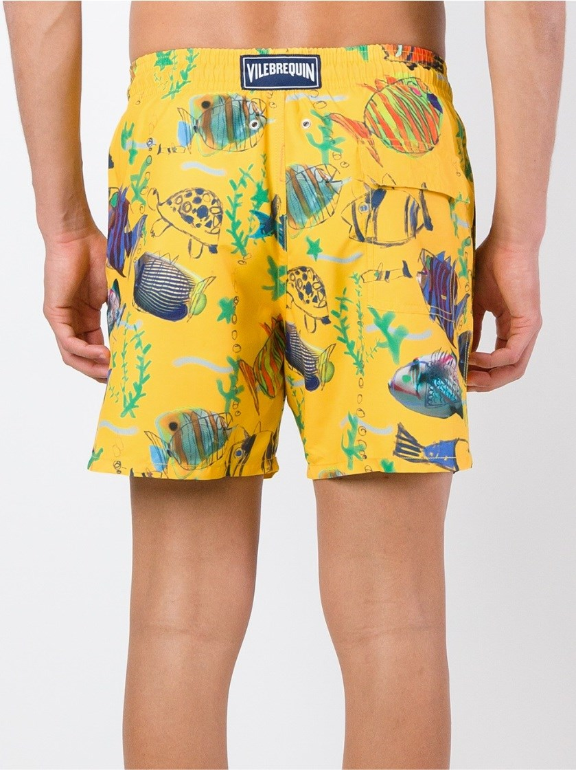 Vilebrequin fish print swim shorts in yellow for men lyst for Fishing swim trunks