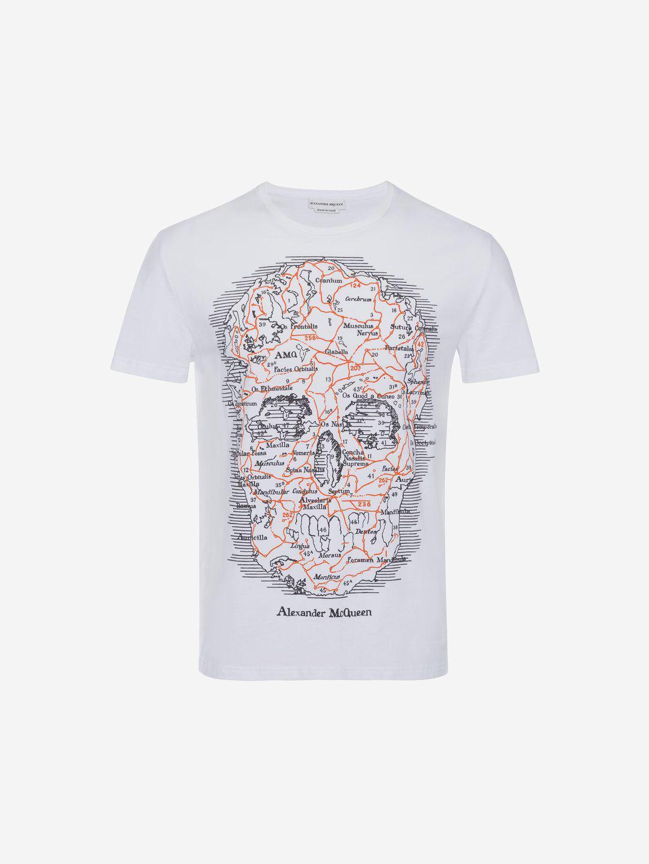 d9c2410f Alexander McQueen - White Map Skull T-shirt for Men - Lyst. View fullscreen