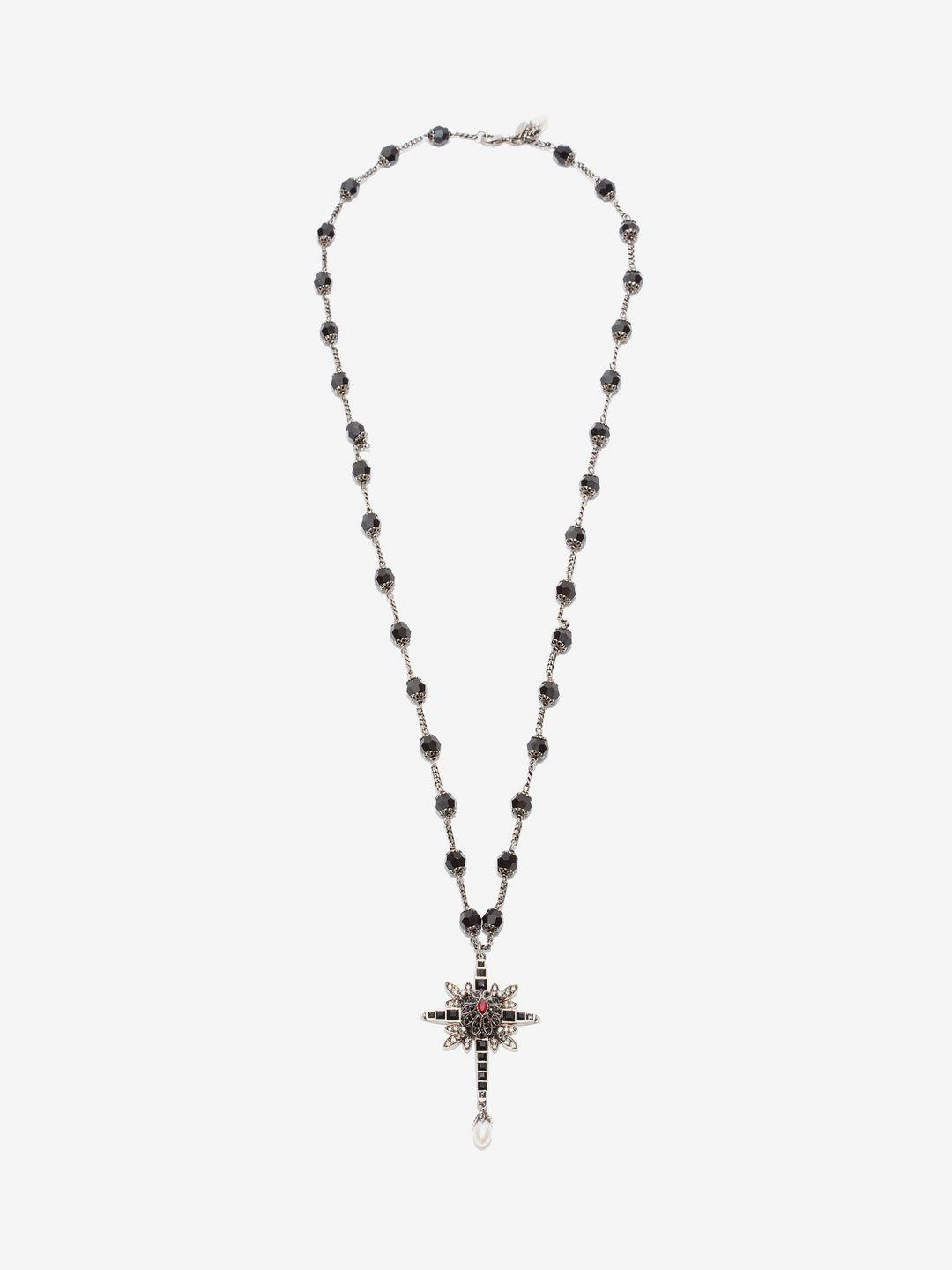 Lyst alexander mcqueen beaded cross necklace in black alexander mcqueen womens black beaded cross necklace aloadofball Choice Image