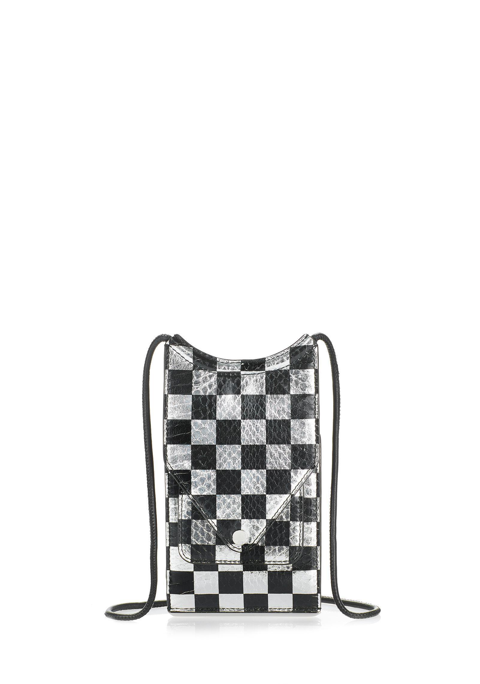 9dbd2b449 Alexander Wang Dime Neck Wallet In Checkerboard Elaphe in Black - Lyst