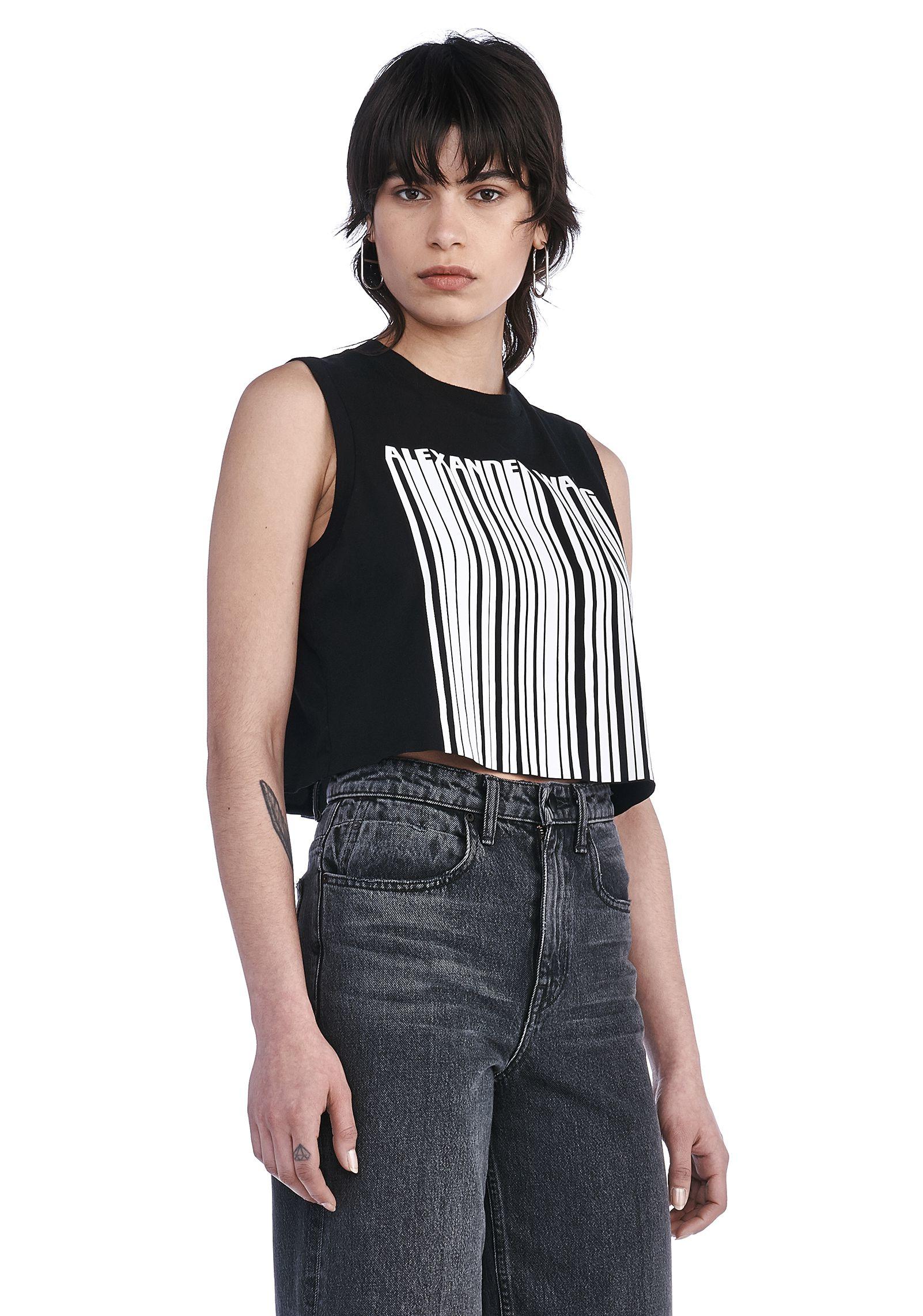 Alexander Wang Logo Guipure Lace Cropped T Shirt In Black