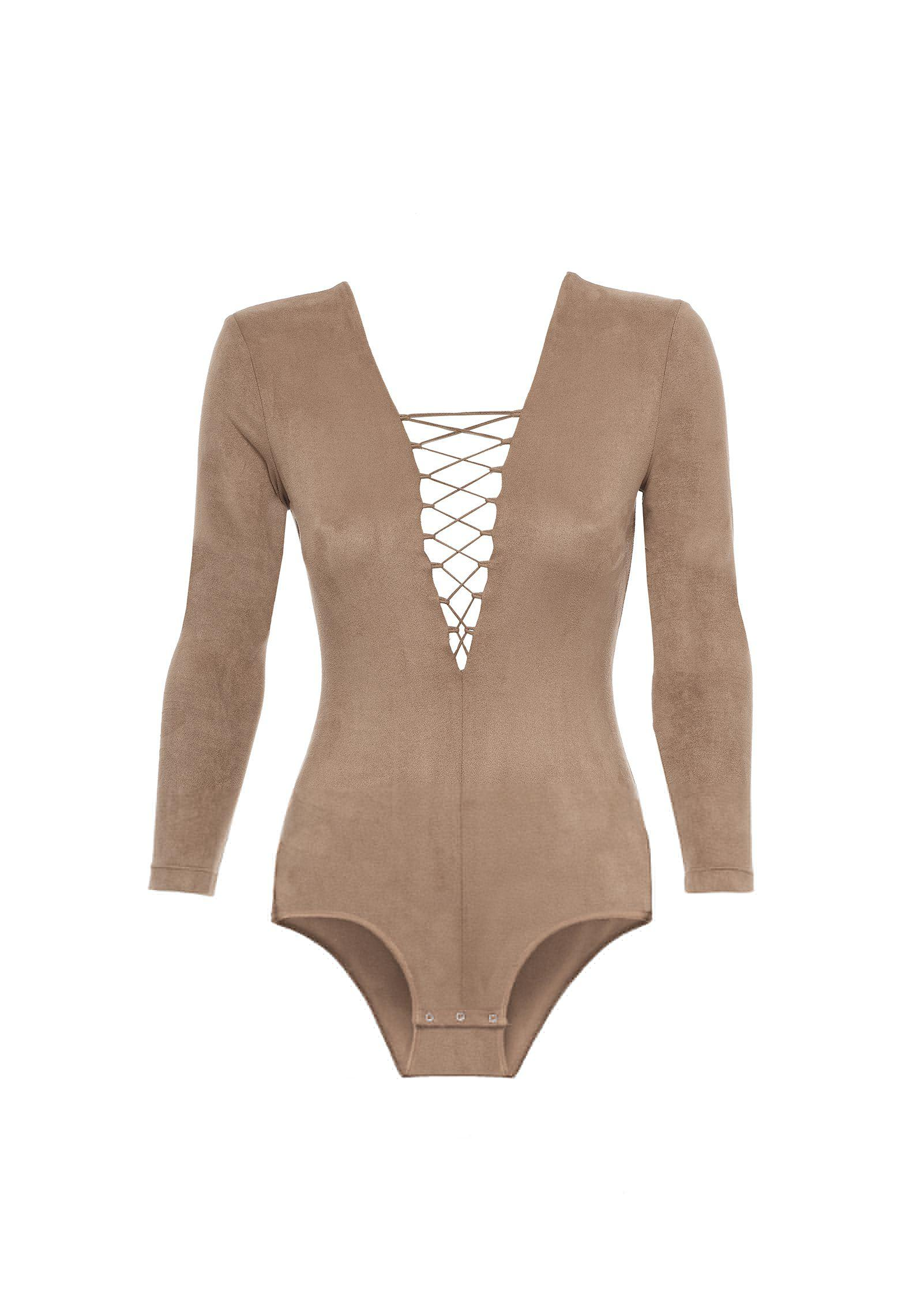 78d42e7b0d Lyst - T By Alexander Wang Stretch Faux Suede Long Sleeve Lace-up ...