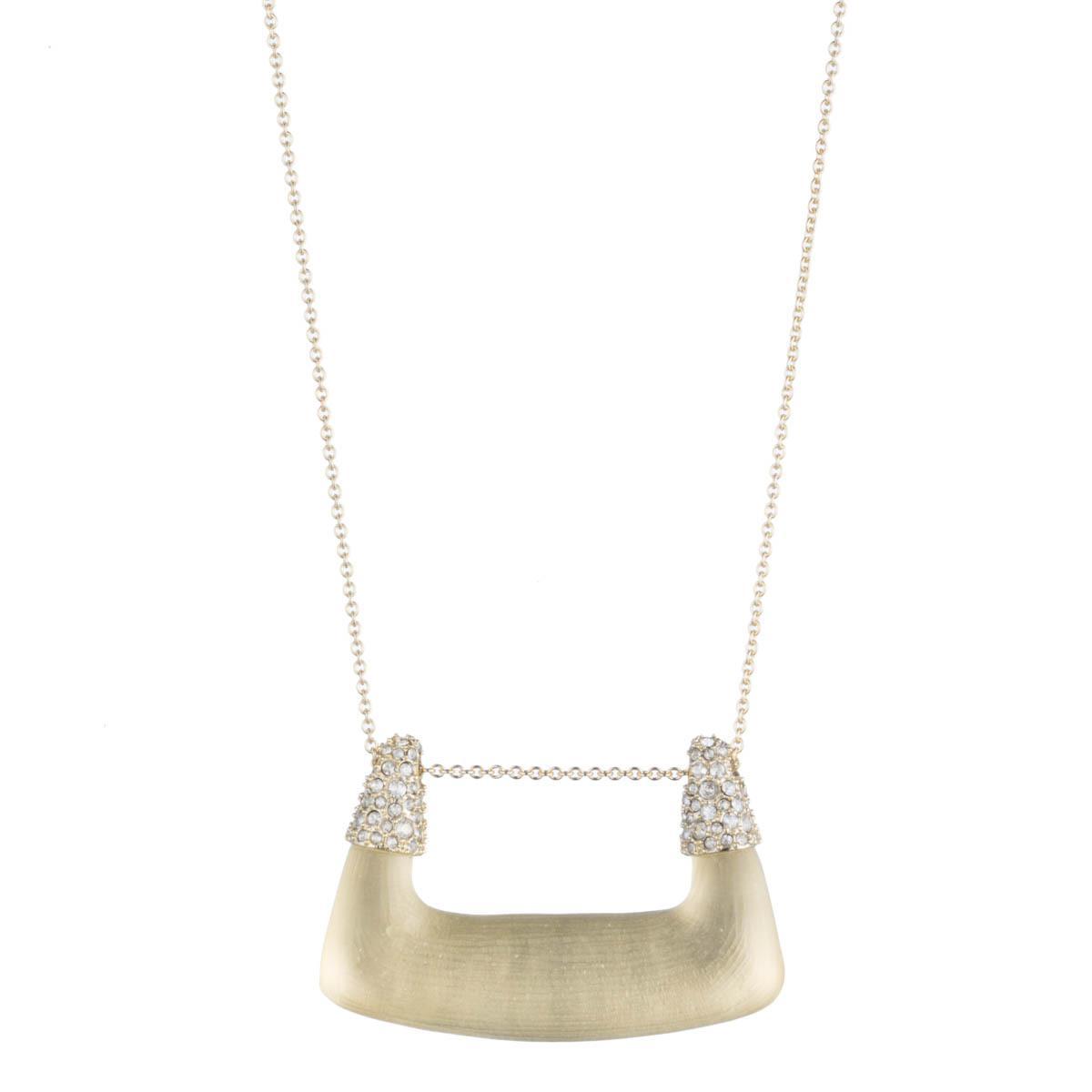 Alexis Bittar Crystal Encrusted Buckle Shape Pendant Necklace Ivory Zz0XK425