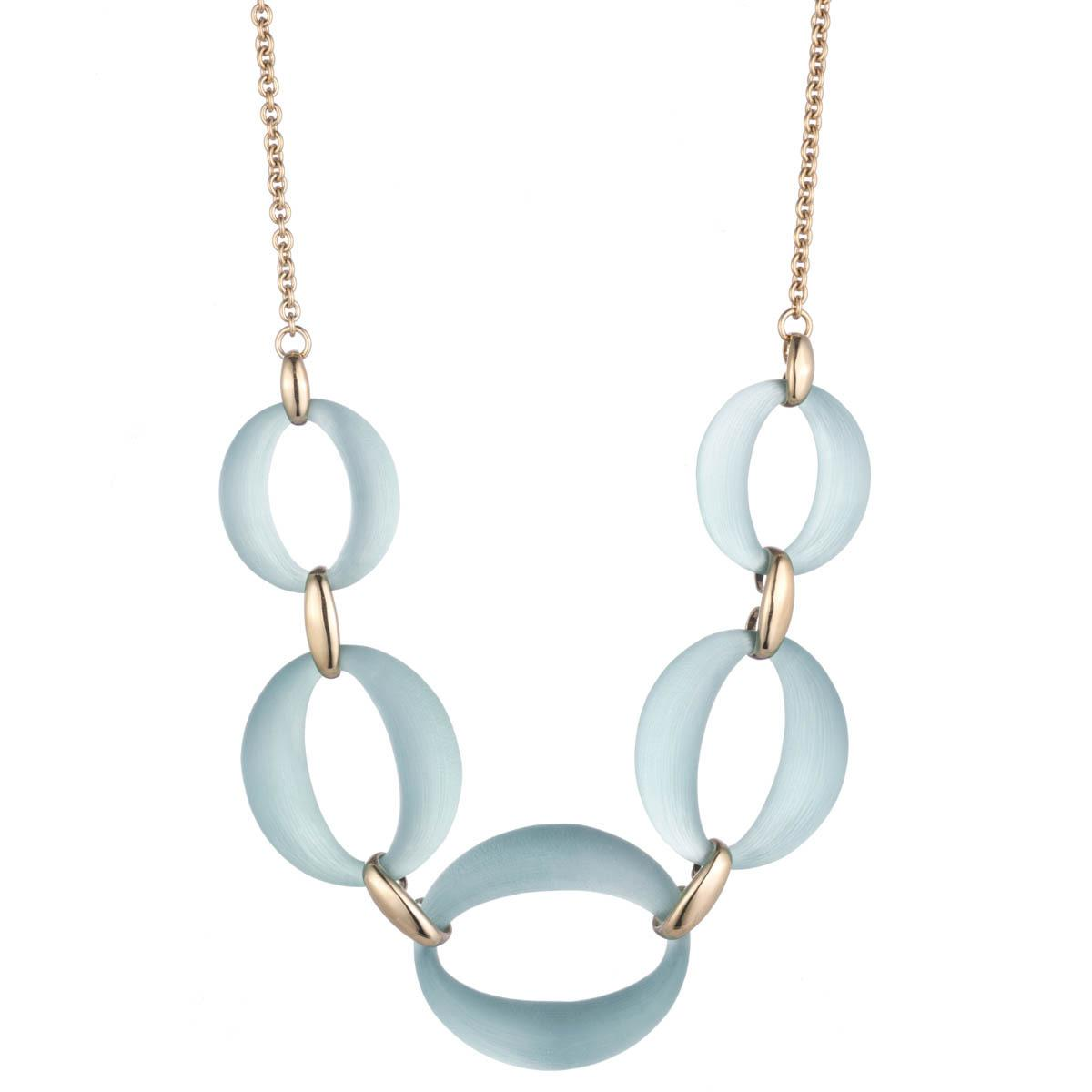 Alexis Bittar Large Lucite Link Necklace Blue grey ABHsO