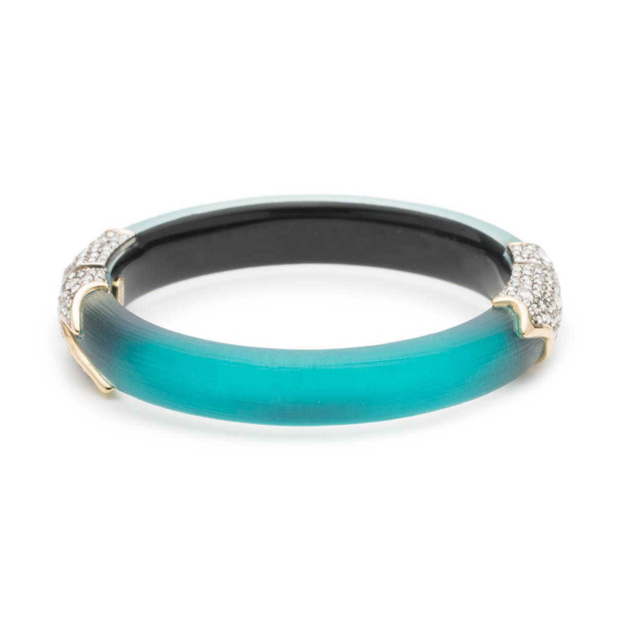 Alexis Bittar Crystal Encrusted Feather Hinge Bracelet, Lake Blue
