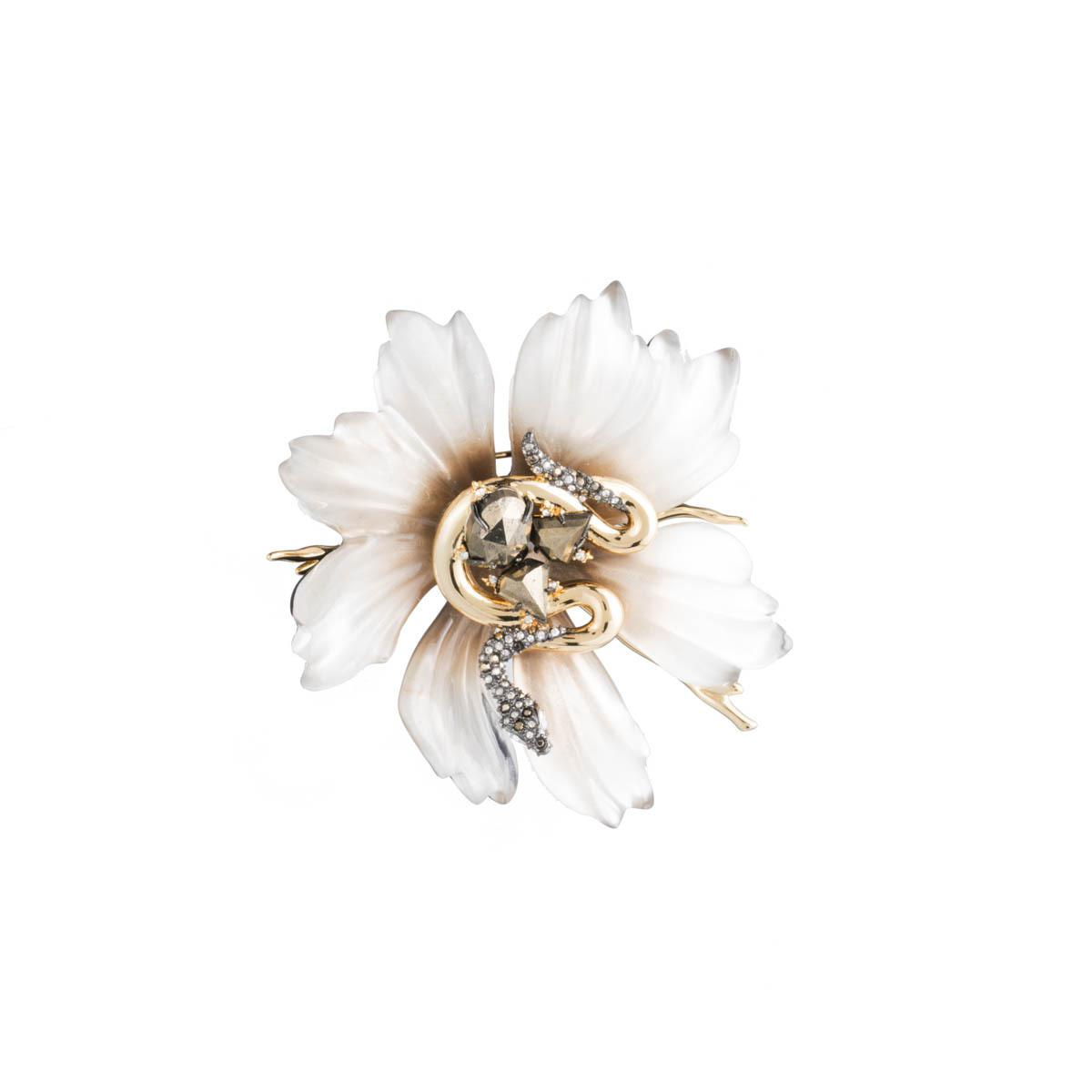 Alexis Bittar Lucite Flower & Crystal Snake Pin 5QrfIMum