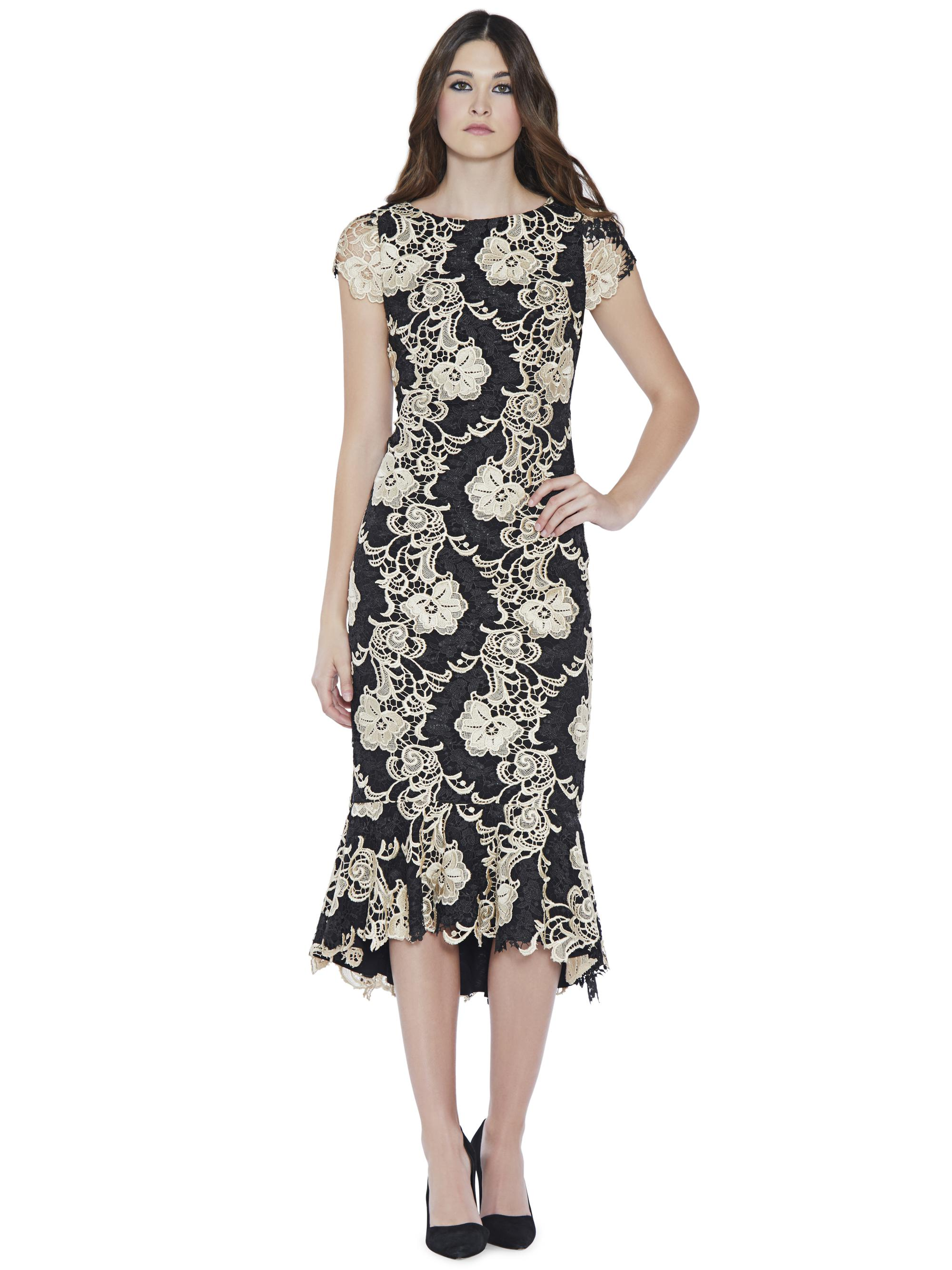 91cadf7e176 Alice + Olivia Cleora Midi Ruffle Fitted Dress in Black - Lyst