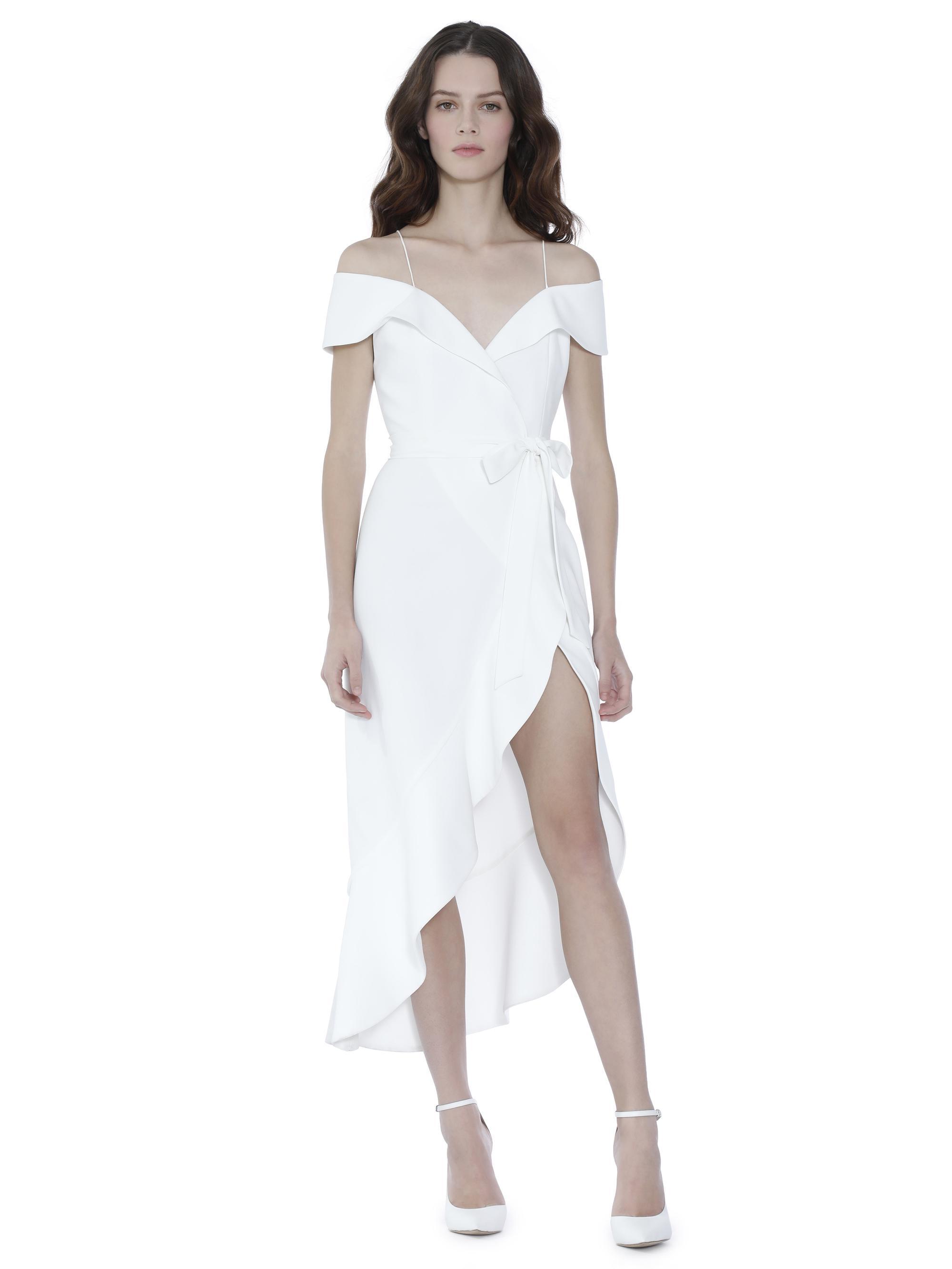 97c37c8b00 Alice + Olivia Josie Off Shoulder Ruffle Wrap Dress in White - Lyst