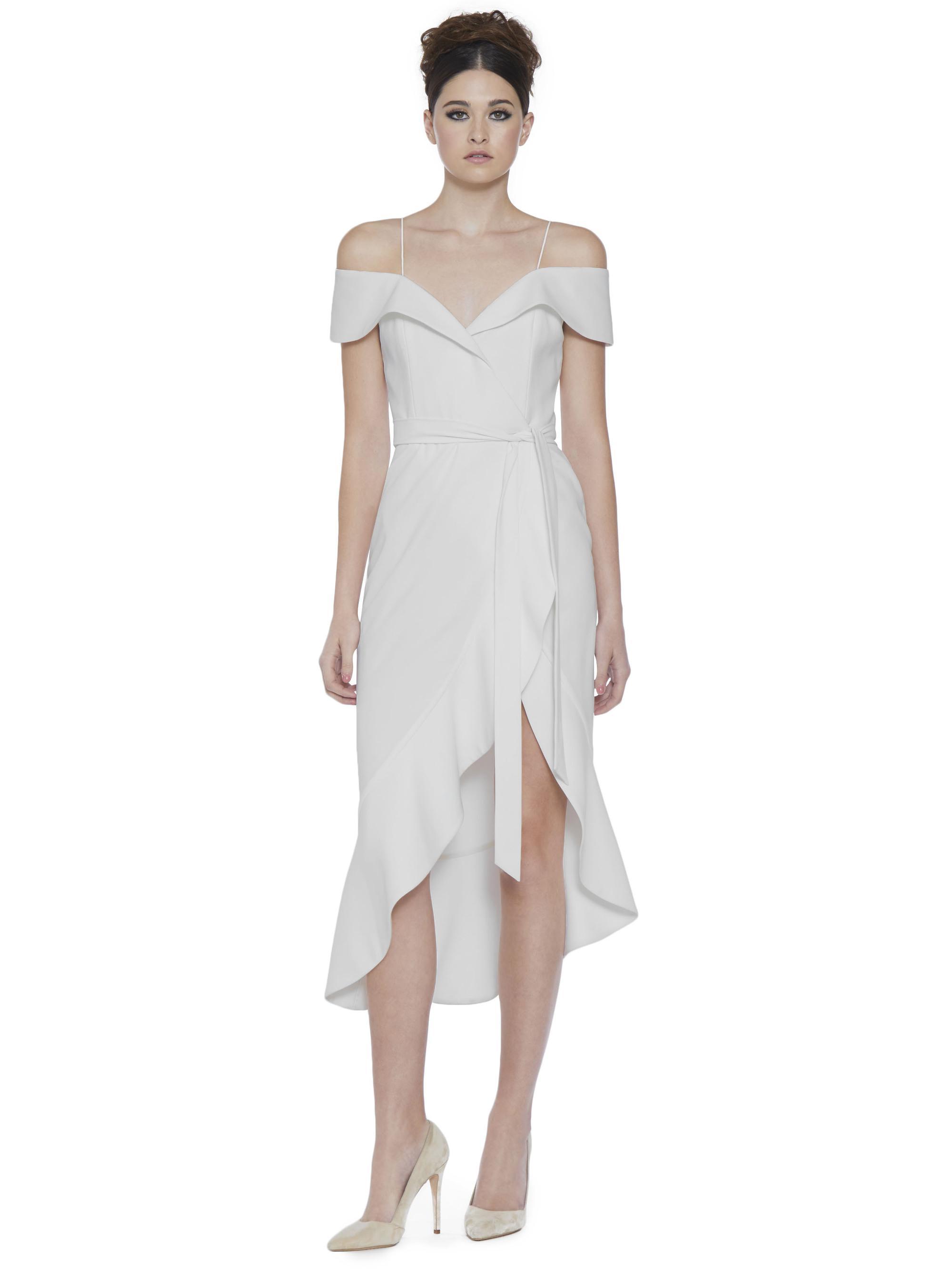 0c901f1284 Alice + Olivia Josie Off Shoulder Dress in White - Lyst