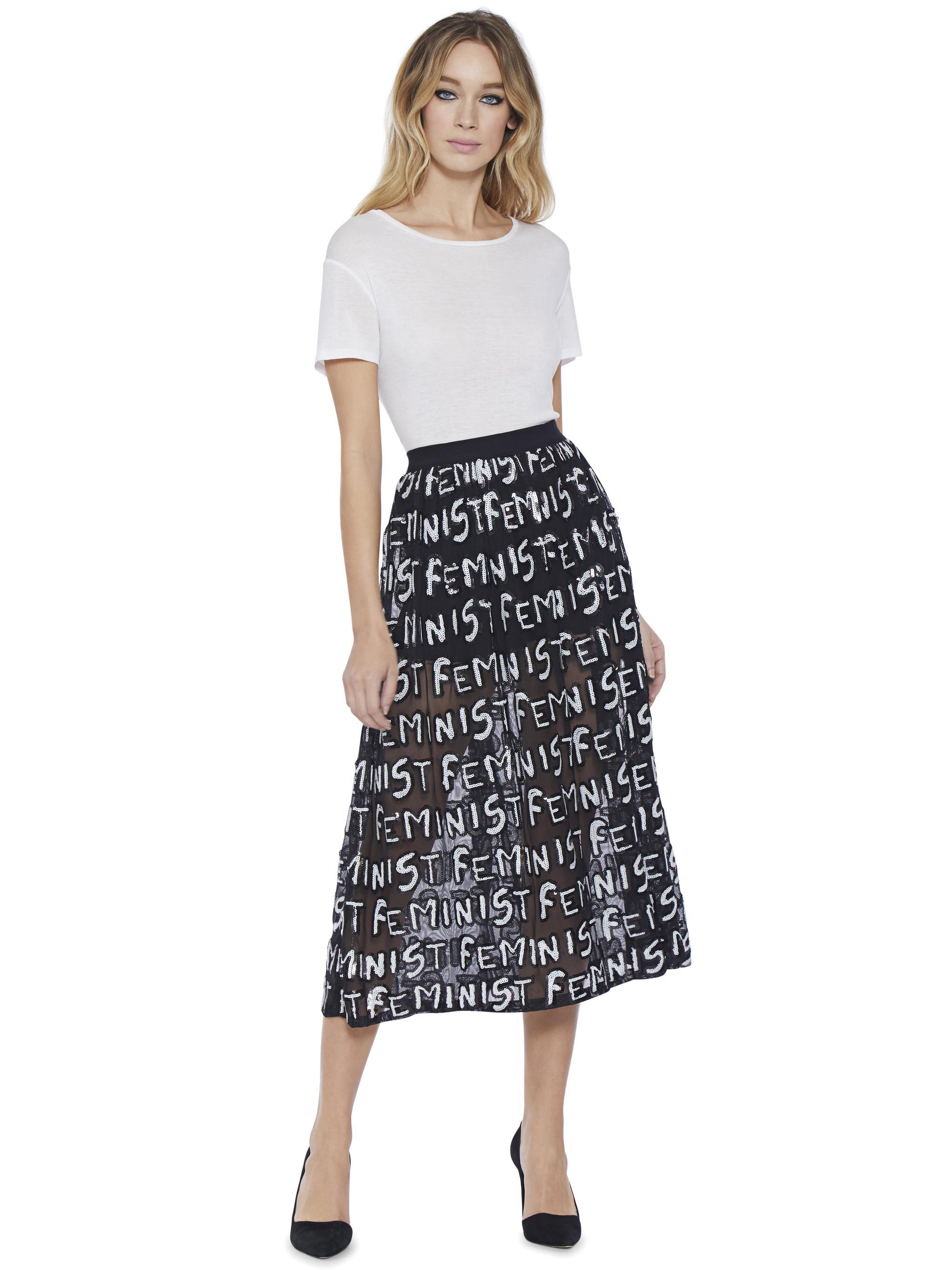 8ffb873e2d659 Lyst - Alice + Olivia Levon Feminist Skirt in Black