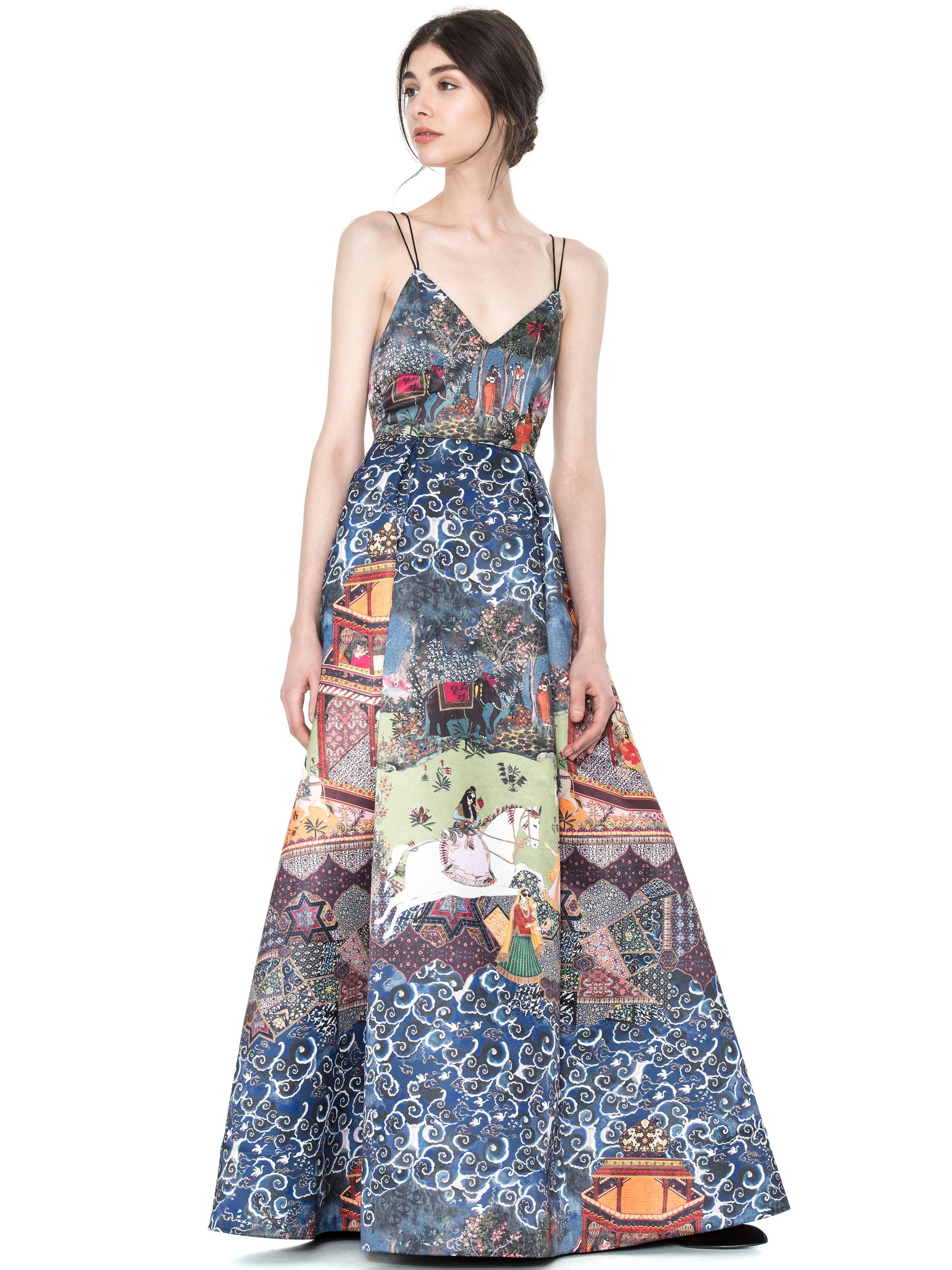 Lyst - Alice + Olivia Marilla V Neck Strappy Gown in Blue
