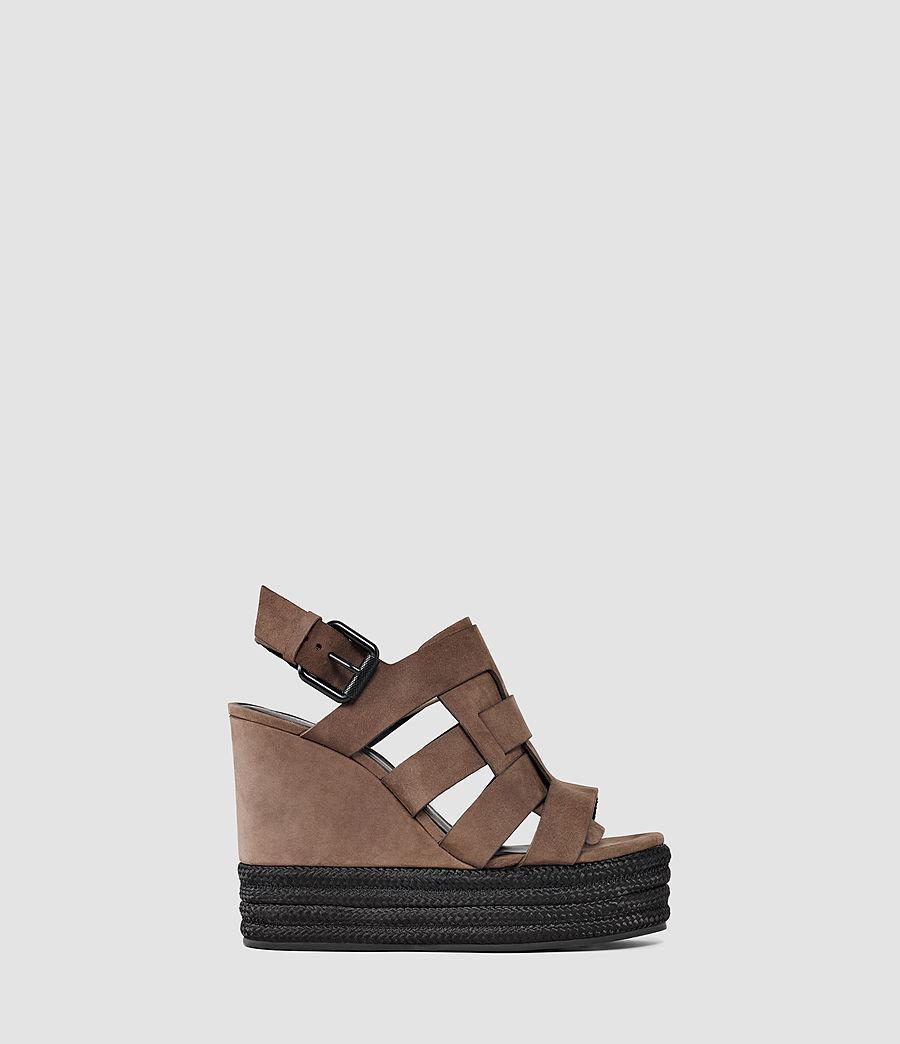 acf694963db Lyst - AllSaints Marzee Wedge Sandal in Brown