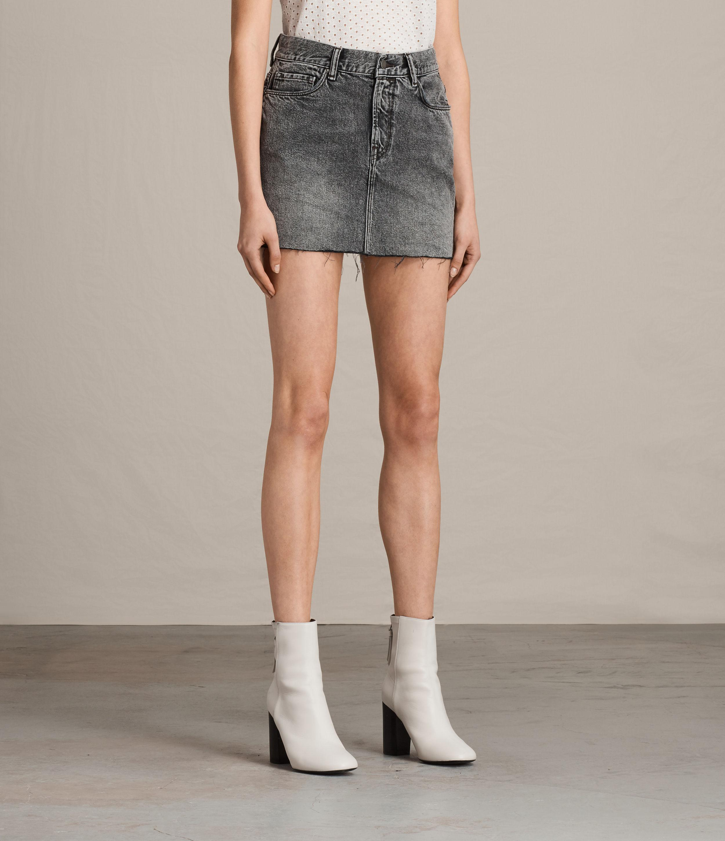sale detailed pictures official images a3caa1 allsaints gray betty denim skirt - thedelhidawn.com