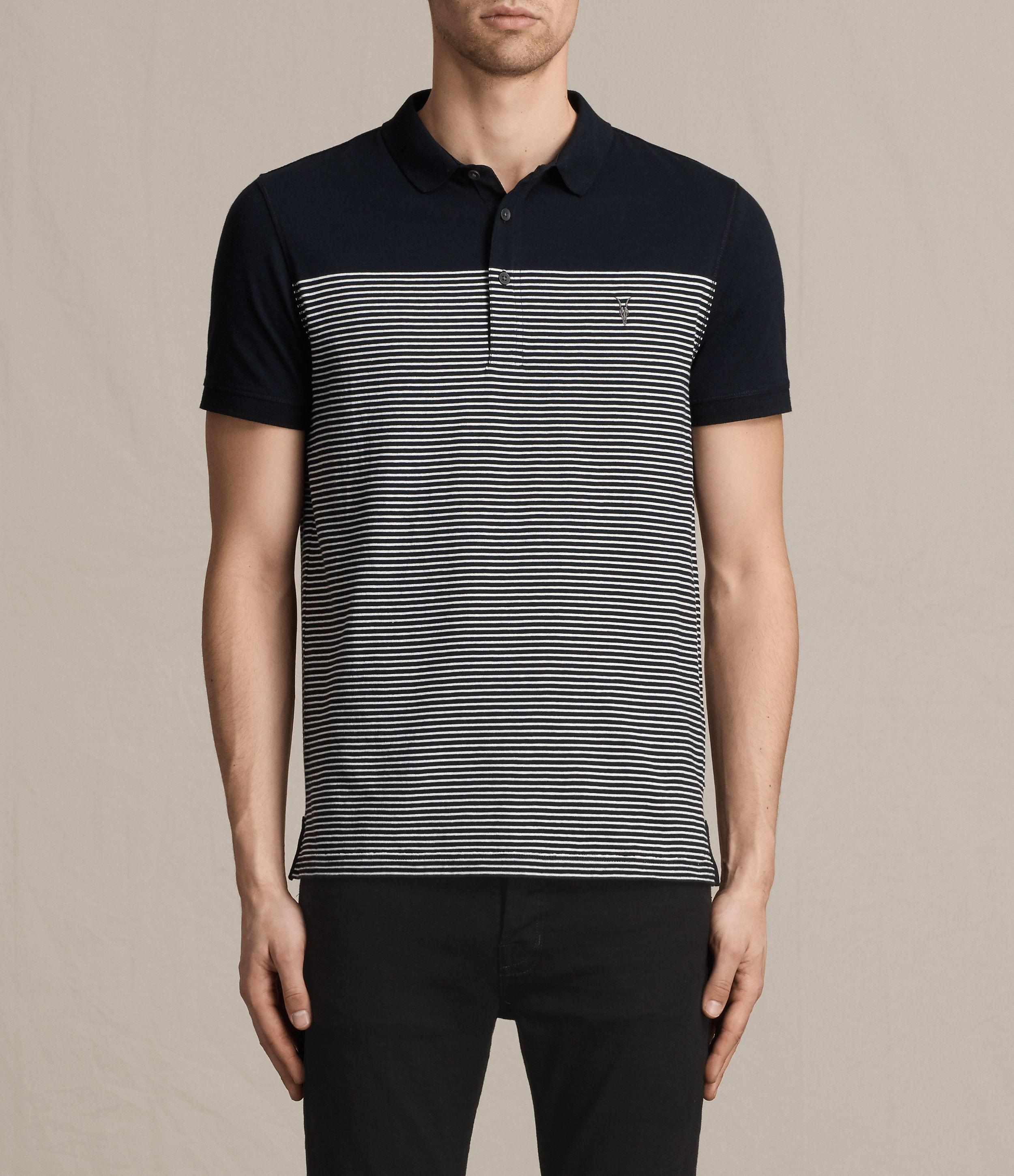 Allsaints breton tonic polo shirt in blue for men lyst for All saints polo shirt