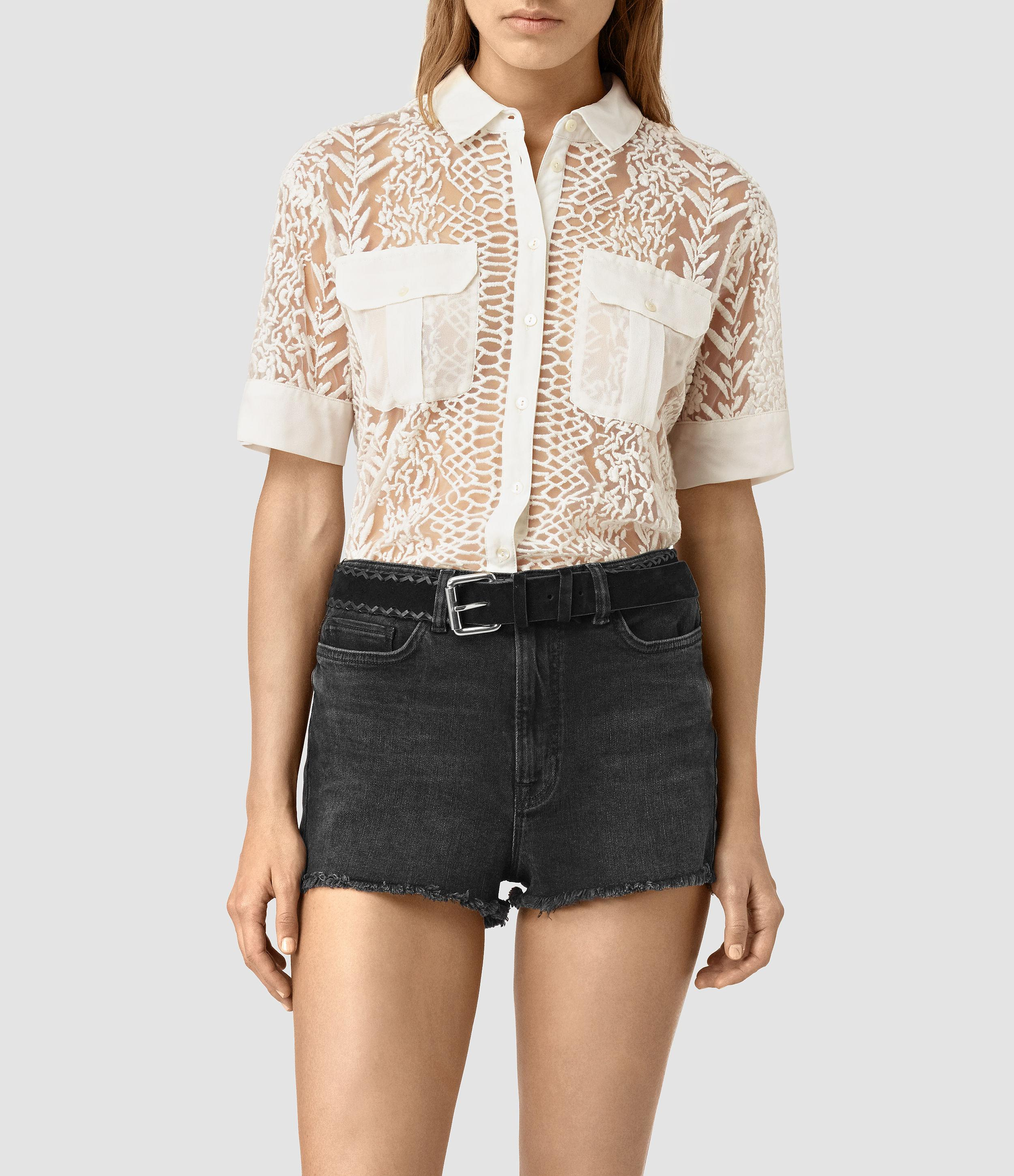 8456209c591220 AllSaints Cariad Embroidered Shirt in White - Lyst