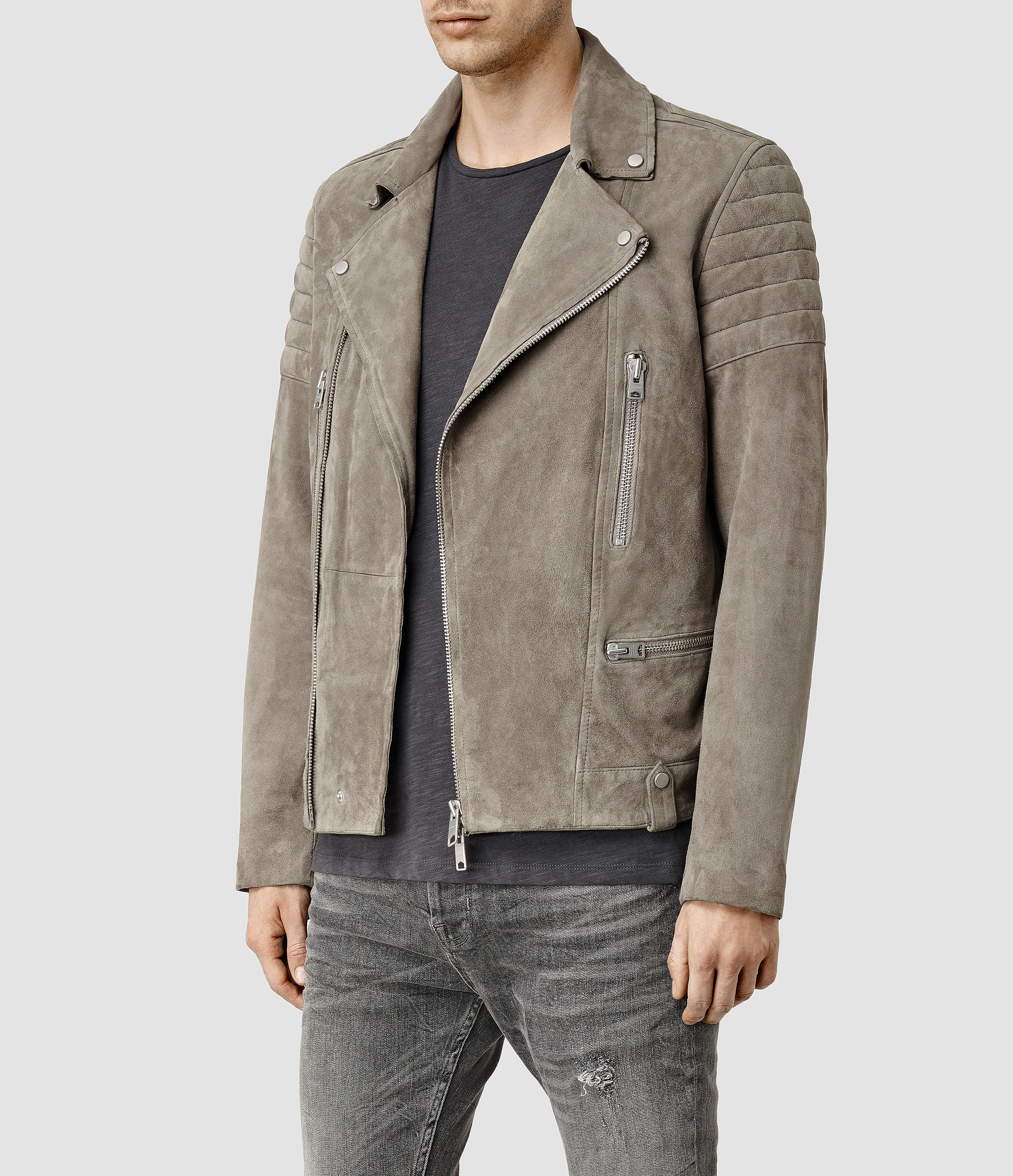 193ac0b2491d AllSaints Circuit Suede Biker Jacket Usa Usa in Natural for Men - Lyst