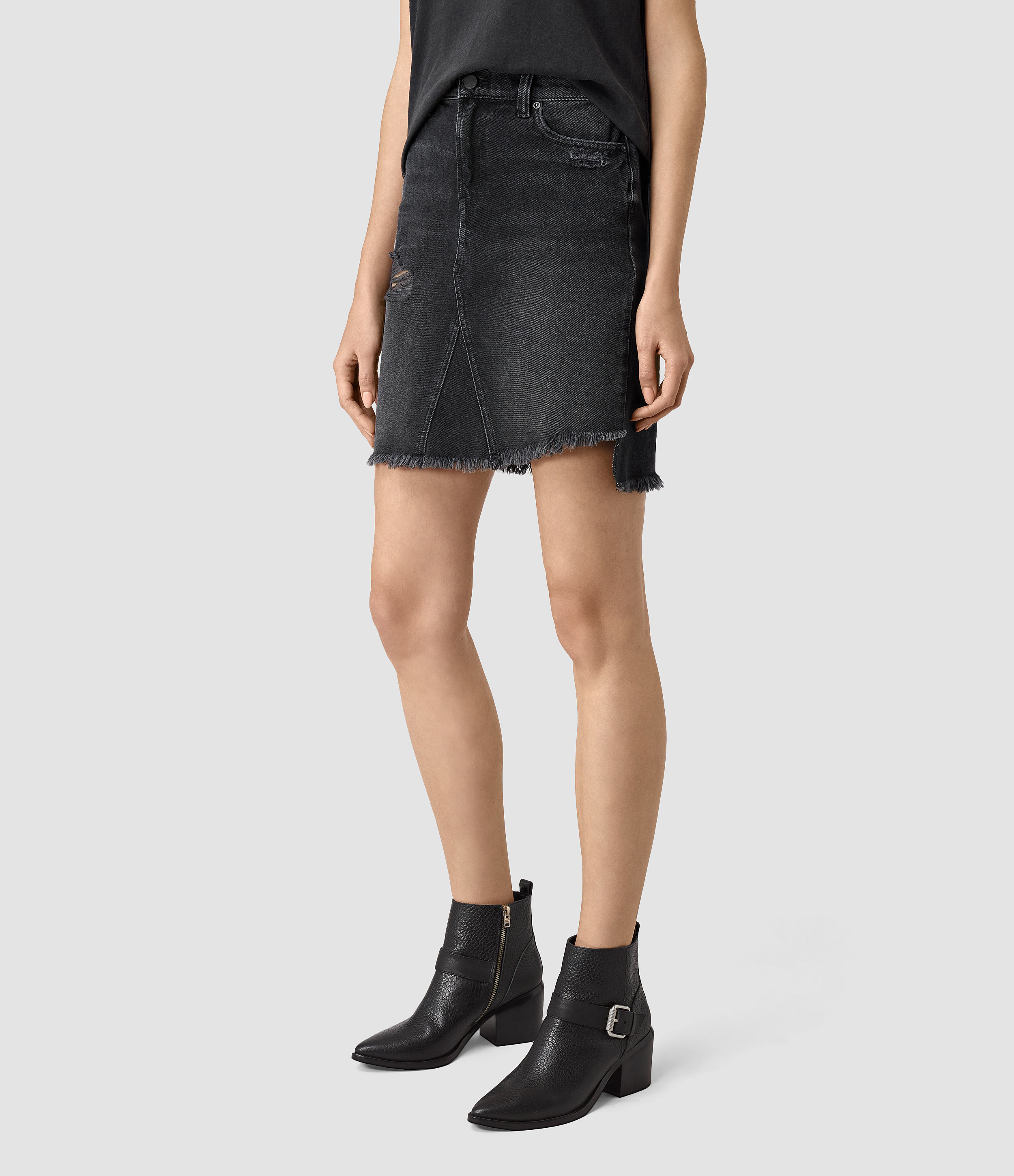 Allsaints Distressed Denim Skirt in Black | Lyst