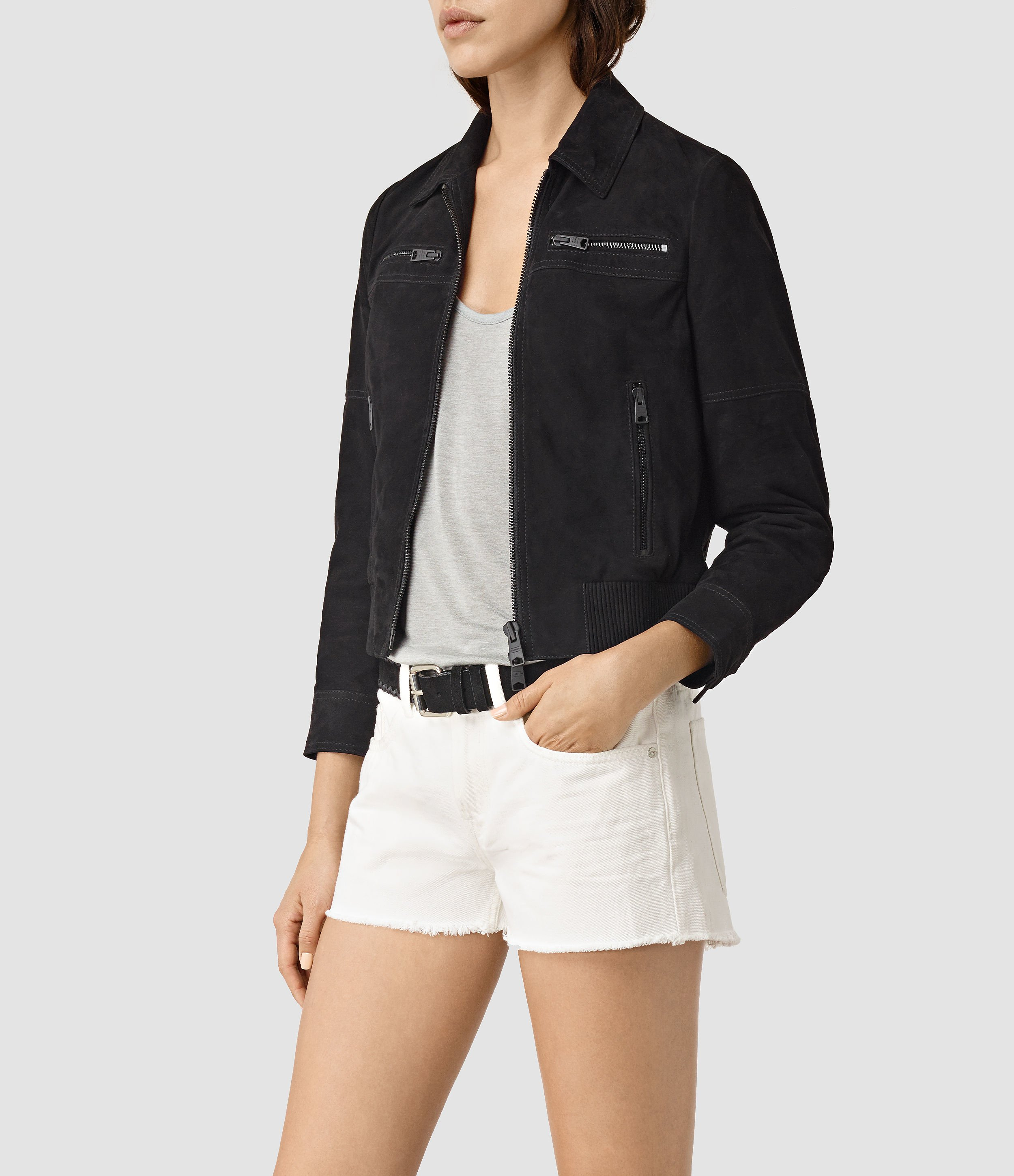 Allsaints Hopkins Suede Bomber Jacket in Black | Lyst