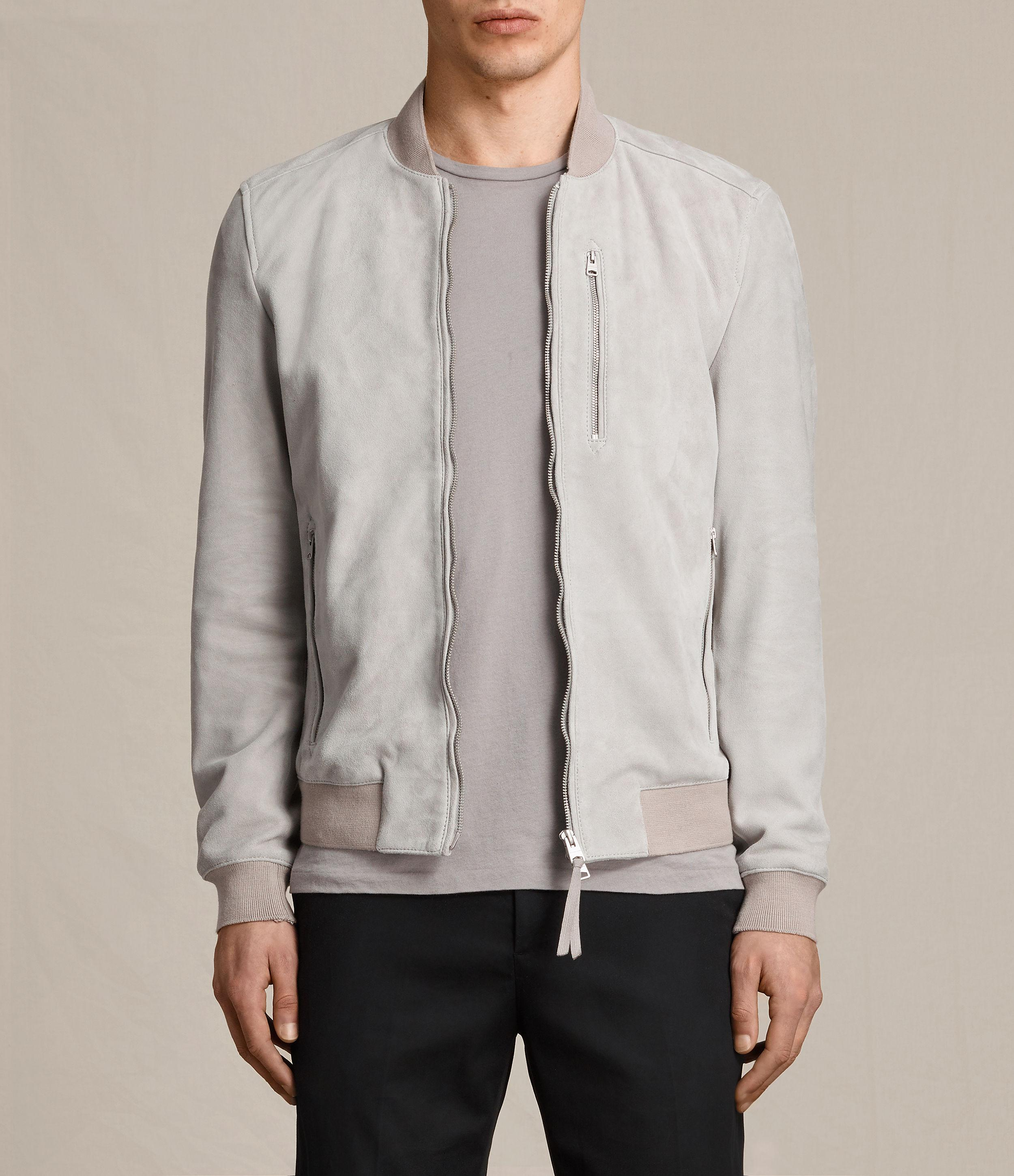 Allsaints Kemble Suede Bomber Jacket in Gray for Men | Lyst