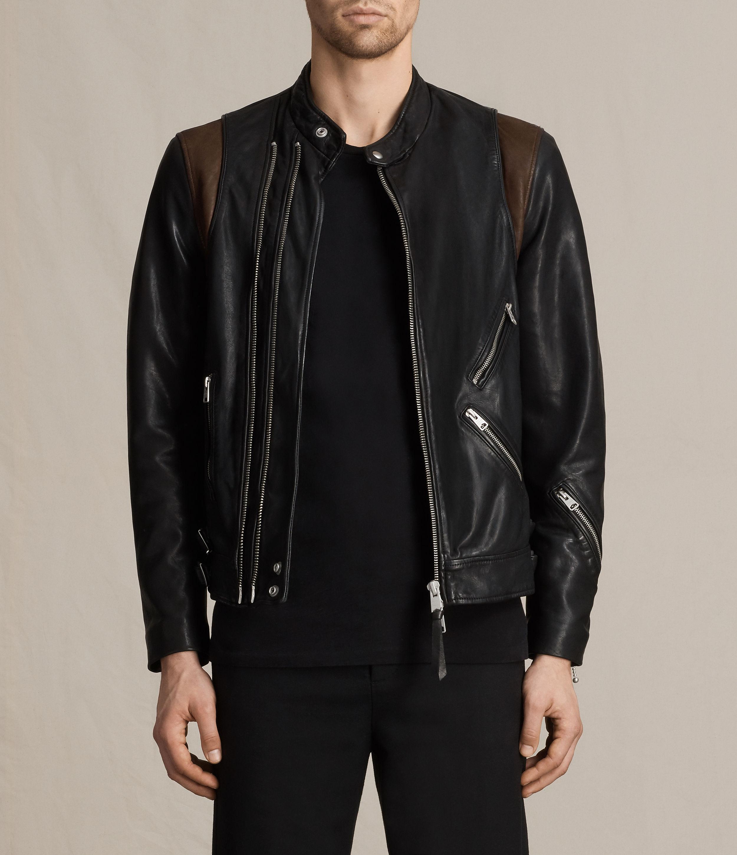 Leather jacket all saints - Allsaints Men S Black Parker Leather Jacket