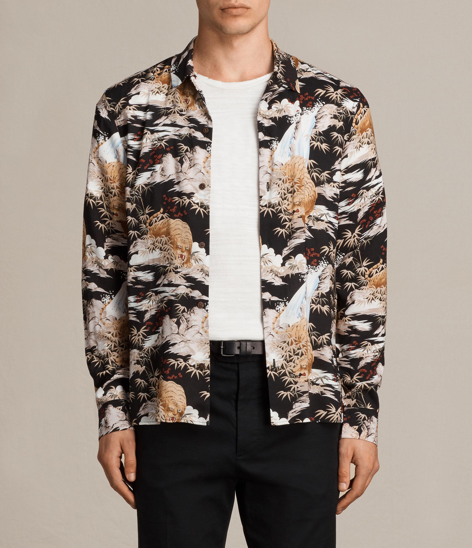 lyst allsaints sumatra long sleeved shirt in black for men