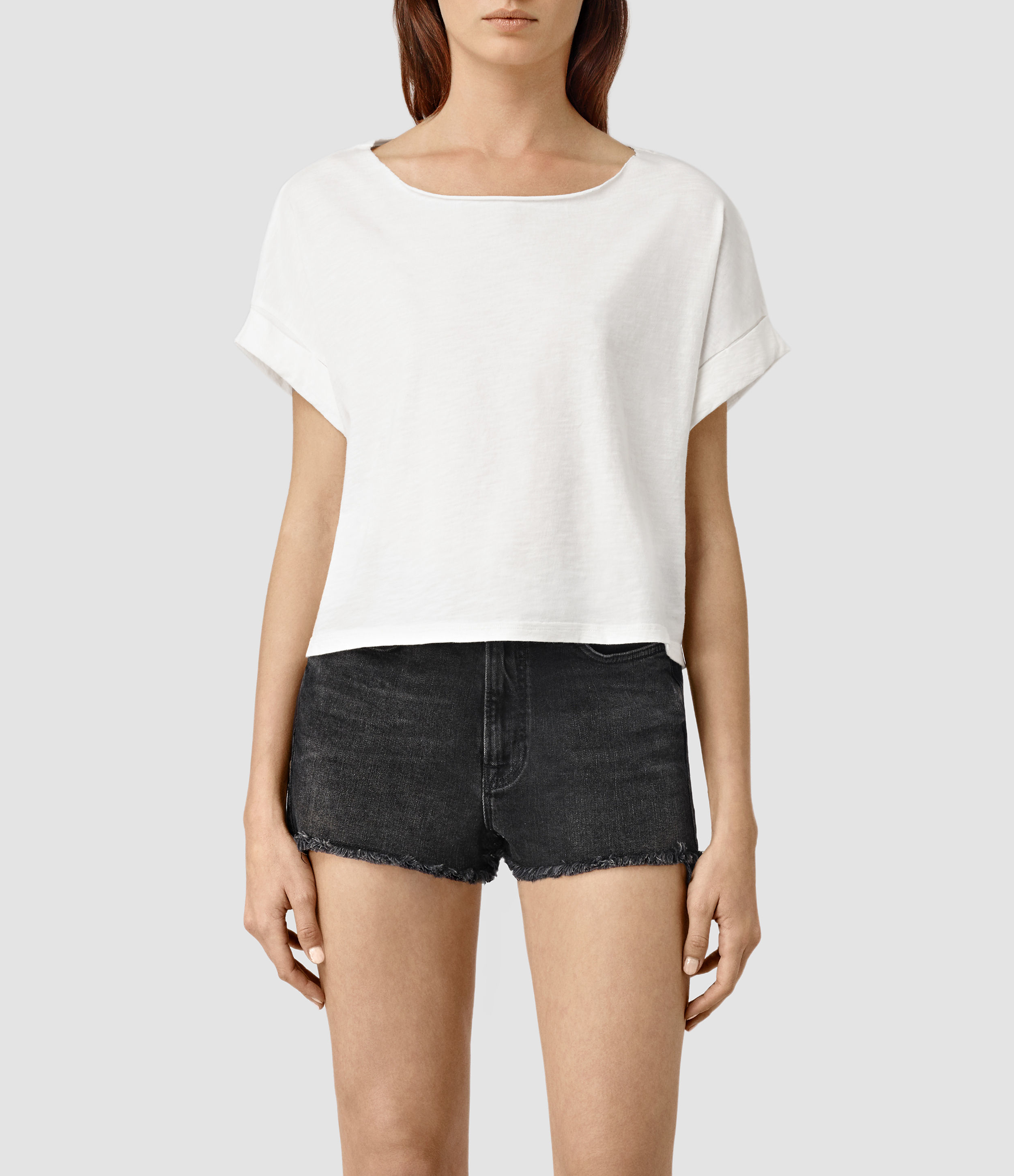 3a44c0713c AllSaints Tyler Cropped Tee in White - Lyst