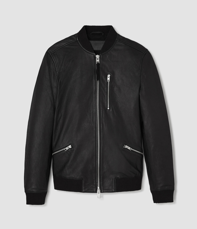 Allsaints Utility Leather Bomber Jacket In Black For Men