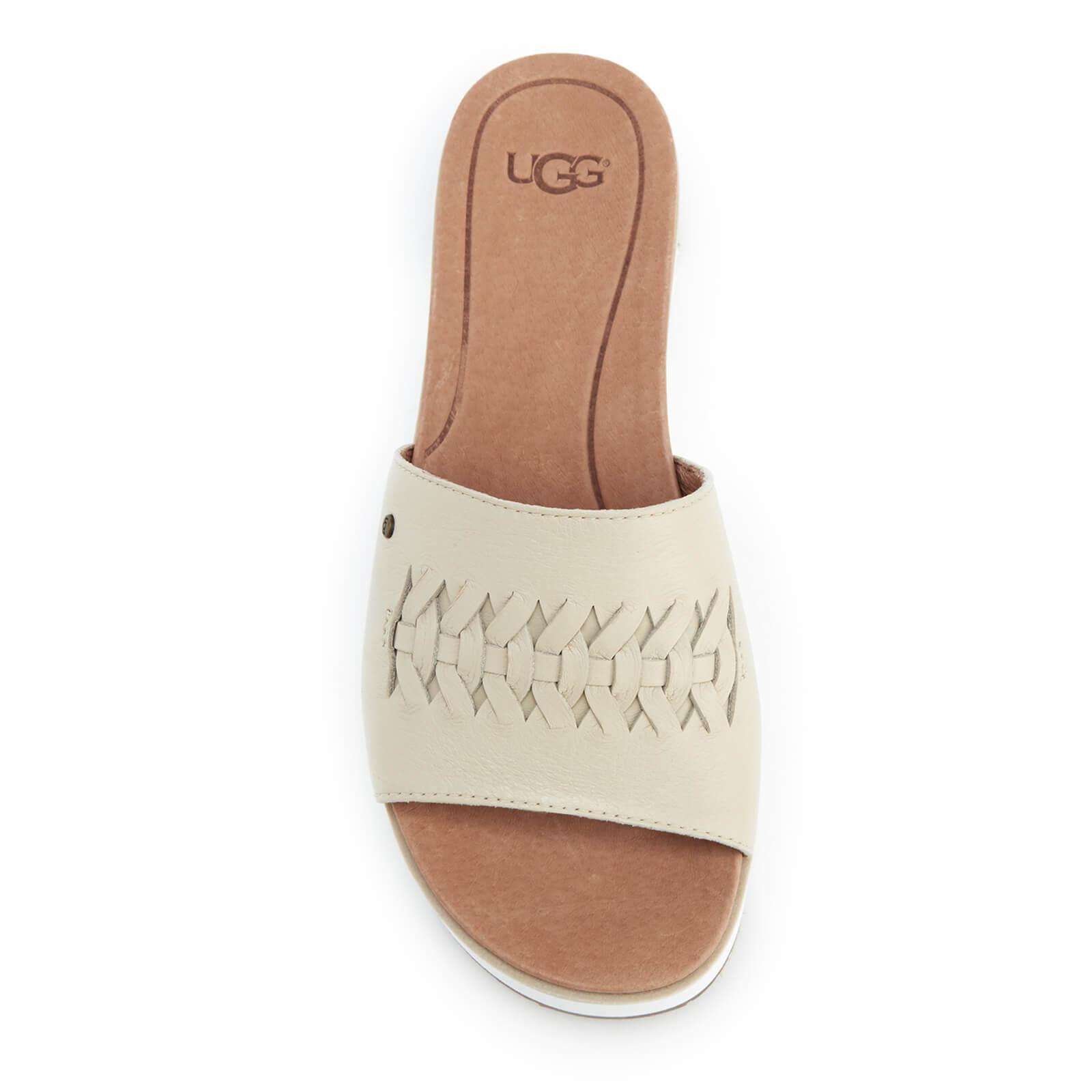 33b301a78d9 Ugg Natural Women's Delaney Treadlite Leather Flatform Slide Sandals