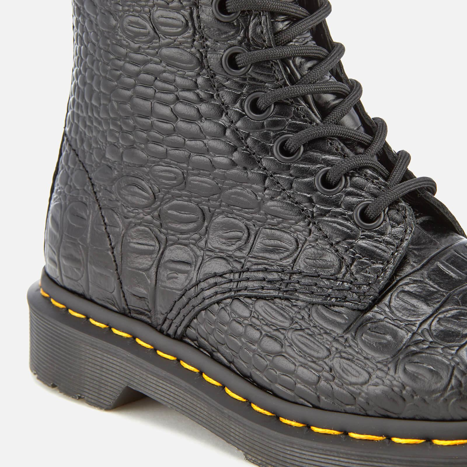 3592ed8a008933 Lyst - Dr. Martens Pascal Croc Leather 8-eye Lace Up Boots in Black