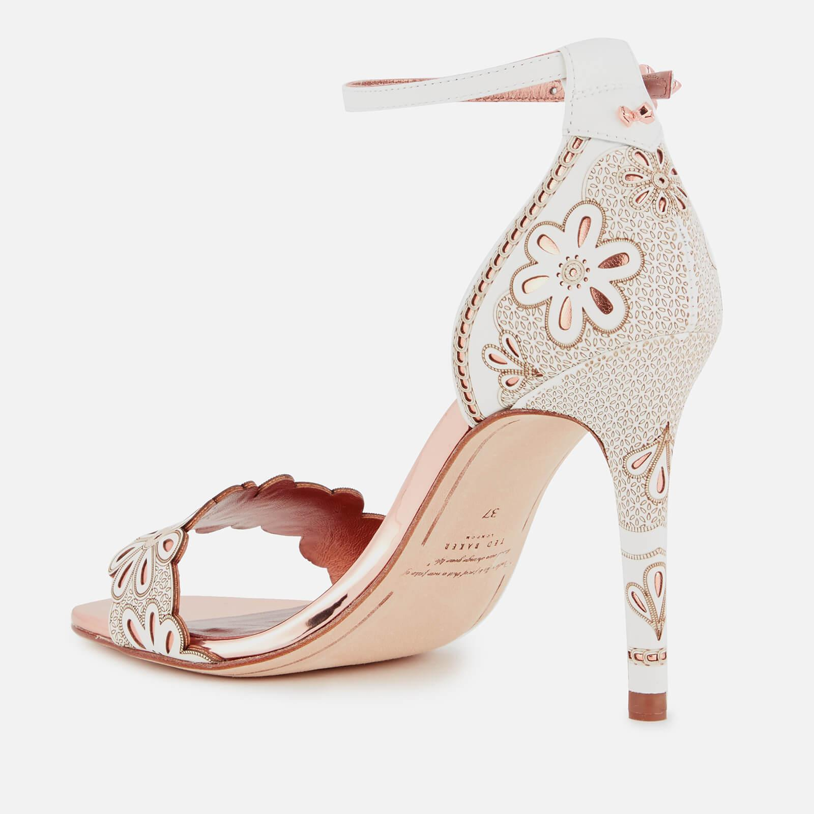 bb5ef89d2d4a Ted Baker Cimaa Leather Barely There Heeled Sandals in White - Lyst