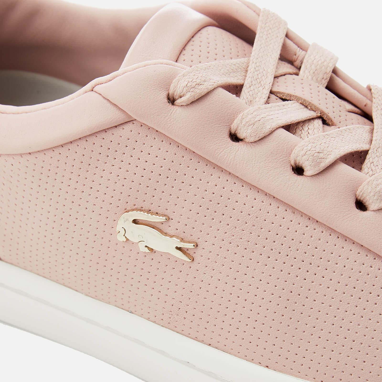 5265cdac5554da Lyst - Lacoste Straightset 118 2 Leather Cupsole Trainers in Pink ...