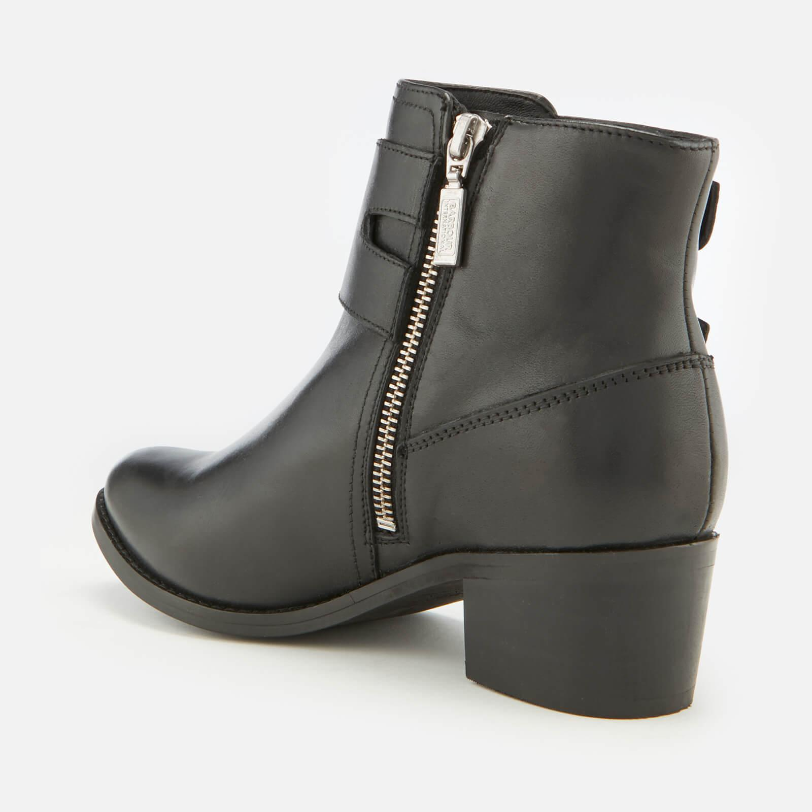 ca60d86b5f5 Lyst - Barbour Inglewood Leather Buckle Heeled Ankle Boots in Black ...