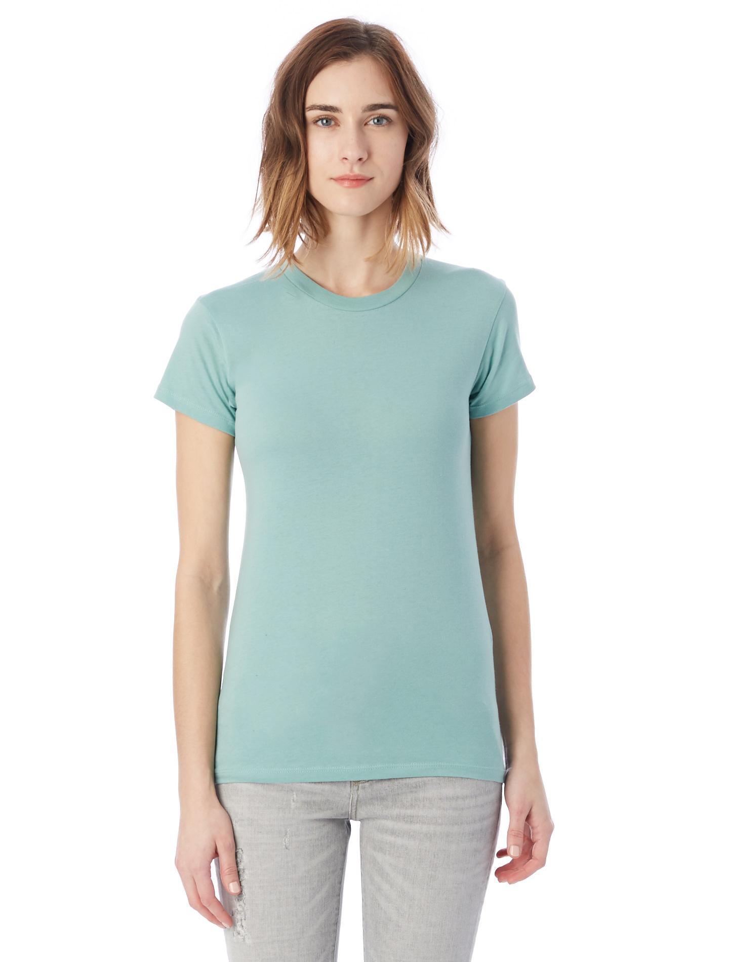 Alternative apparel basic womens crew t shirt in green lyst for Basic shirts for women