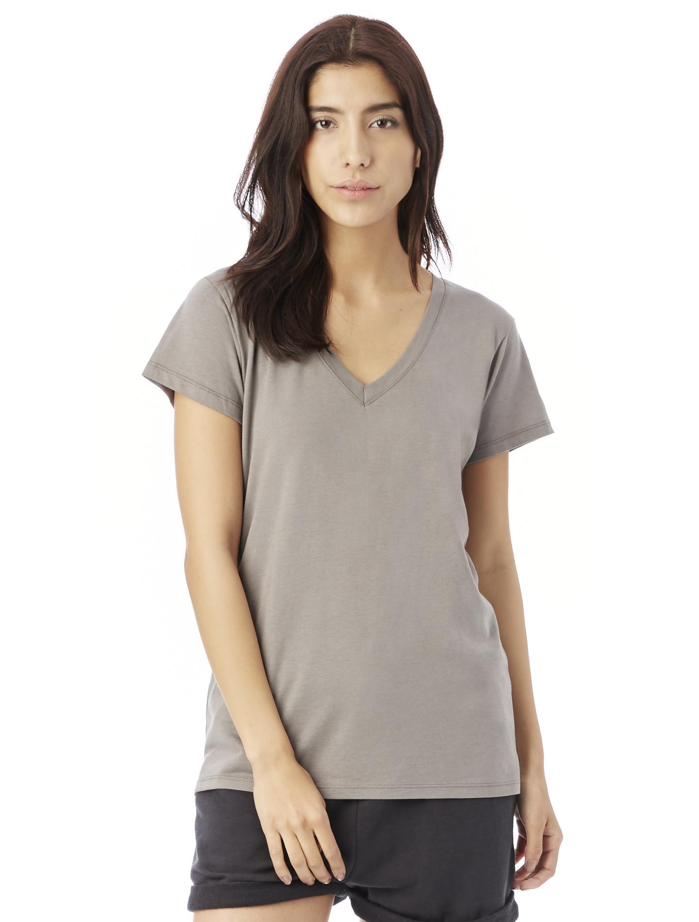 7105e29eaadcf6 Alternative Apparel Everyday Cotton Modal V-neck T-shirt in Metallic ...