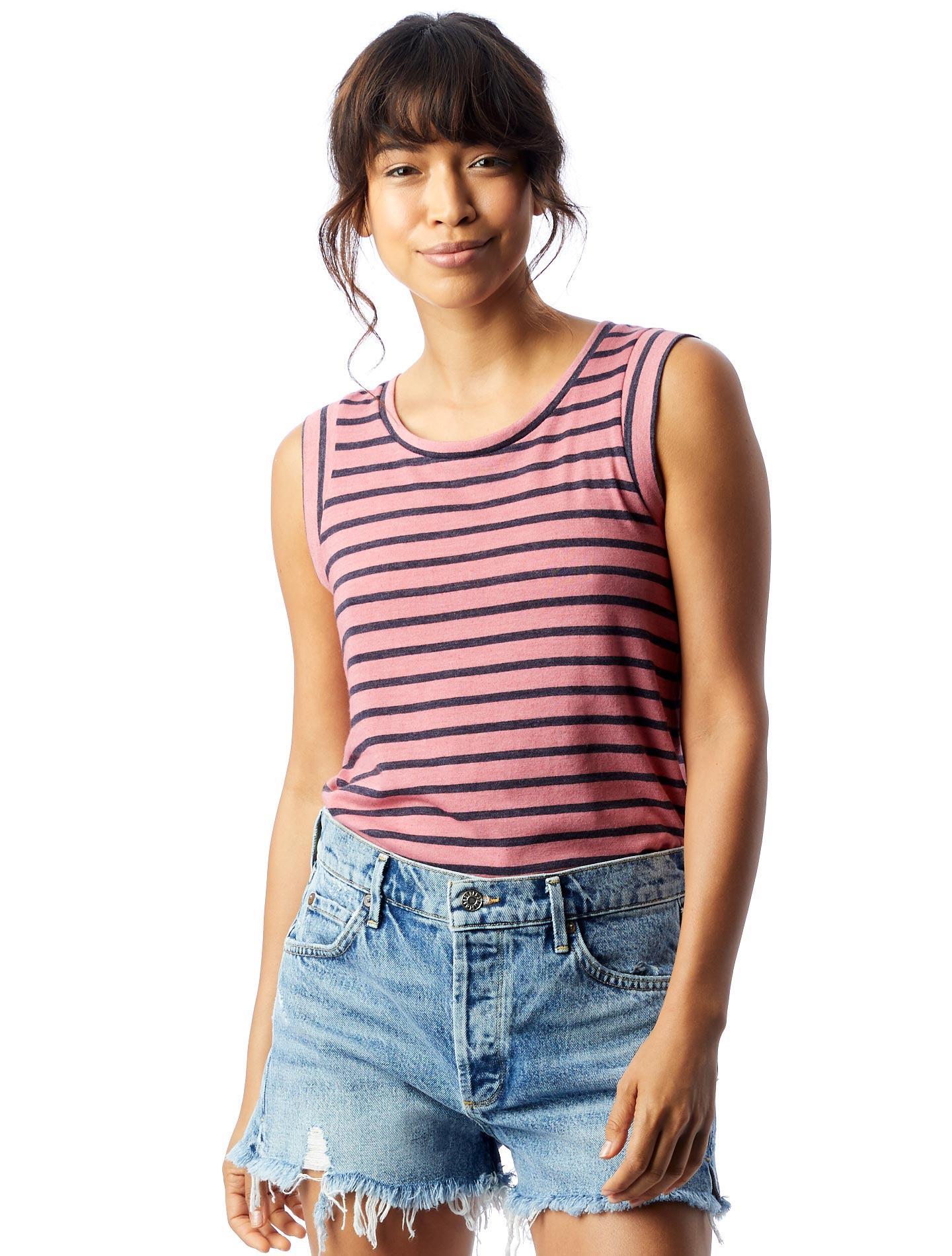 264d7a64797 Alternative Apparel. Women's Red Cap Sleeve Striped Eco-jersey Crew T-shirt