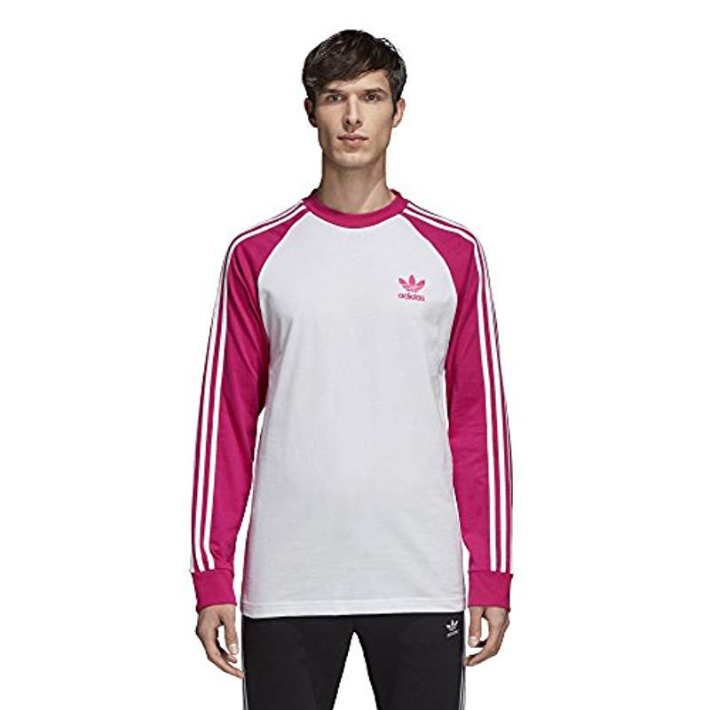 the latest 21608 b9b9f adidas Originals. Mens Pink 3-stripes Long Sleeve Tee