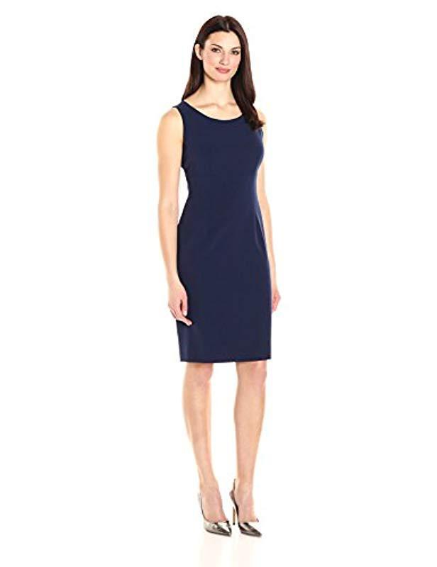 2c77b226d9 Lyst - Kasper Stretch Crepe Sheath Dress Round Neck in Blue - Save 34%