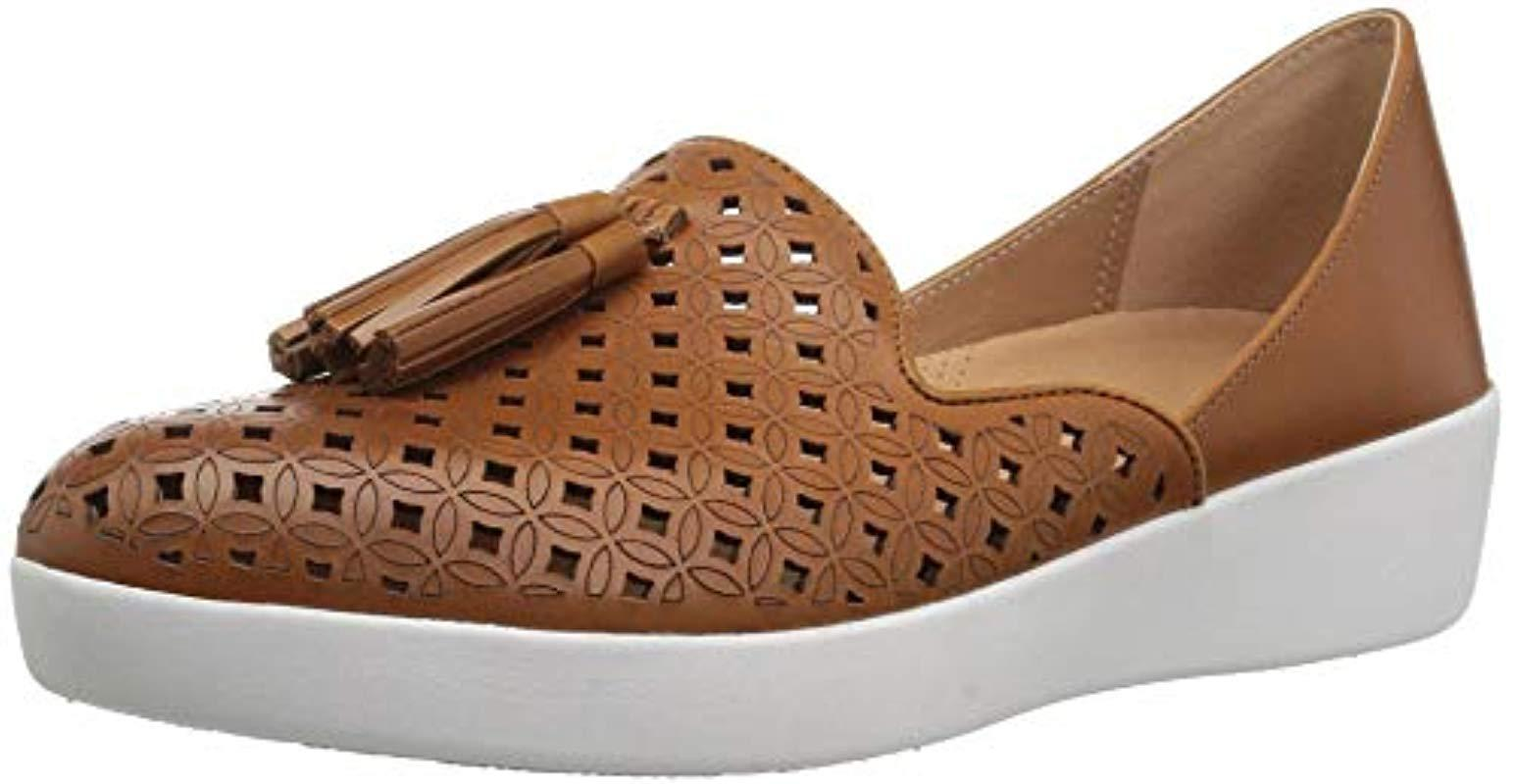 3cbd98b671d Fitflop. Women s Brown Tassel Superskate D orsay Loafers-latticed Leather