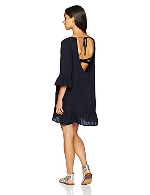 a424a61595 Roxy - Black Goldy Soul Long Sleeve Coverup Dress - Lyst. View fullscreen