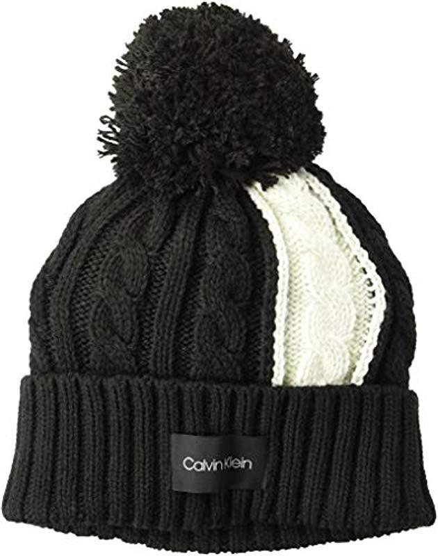 61500089c08 Lyst - Calvin Klein Colorblock Cable Beanie in Black
