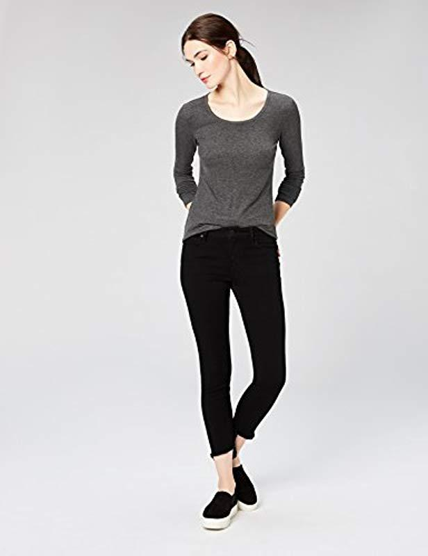 e3de6a6491b159 Lyst - Daily Ritual Ribbed Long-sleeve Scoop Neck Shirt in Gray