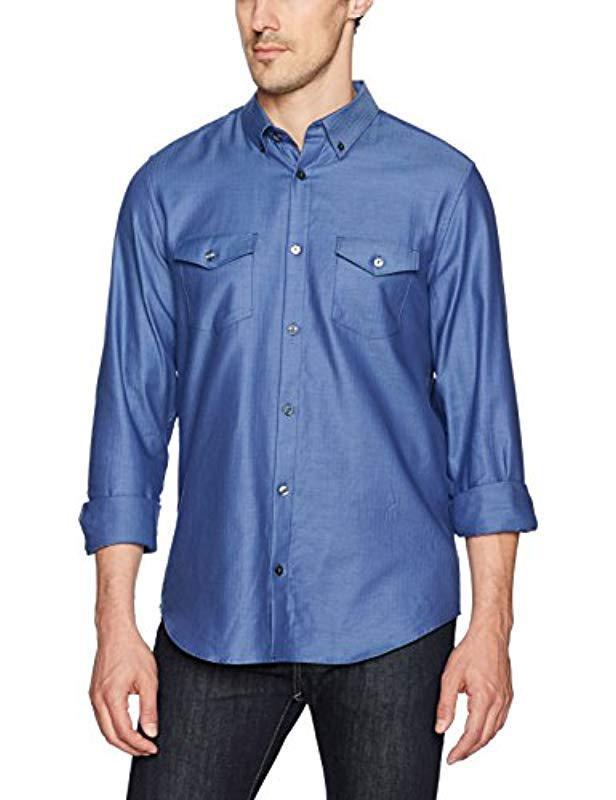 e280a659e4e Lyst - Calvin Klein Long-sleeve Woven Button Down Solid Shirt in ...