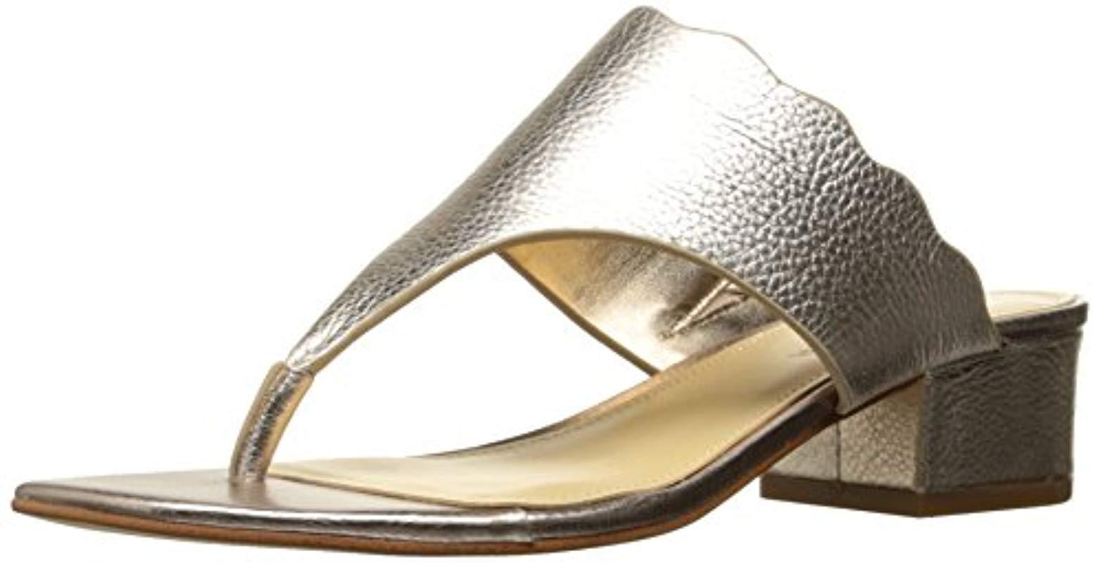 b3ca34630 Lyst - Marc Fisher Veva Flat Sandal in Metallic - Save 37%