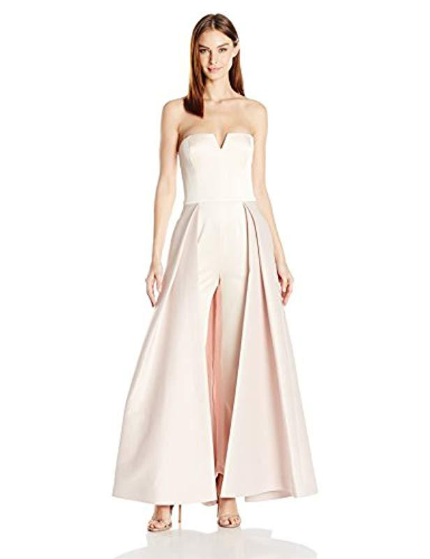 69d65459b3a Lyst - Halston Strapless Jumpsuit Structured Skirt Overlay - Save 37%
