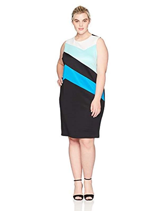 Lyst Calvin Klein Plus Size Colorblock Sheath Dress In Black