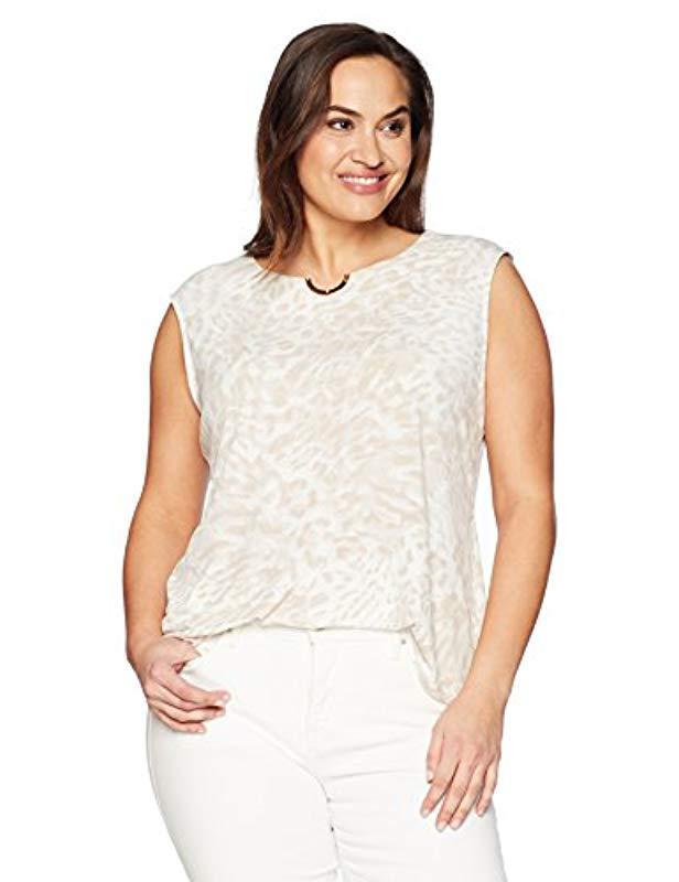 7047da58 Lyst - Calvin Klein Plus Size Sleeveless Gthrd Top W/u Hw in Natural
