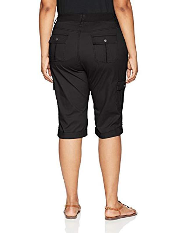 e2ba5bd4ac5c Lyst - Lee Jeans Plus-size Relaxed Fit Skye Knit Waist Cargo Capri Pant in  Black - Save 3%