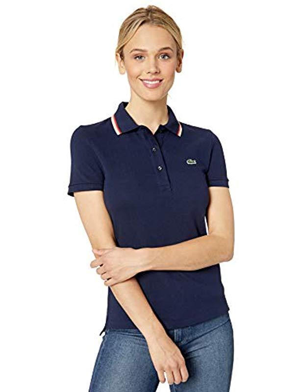 64673514 Lyst - Lacoste S/s Slim Fit Semi Fancy Polo in Blue
